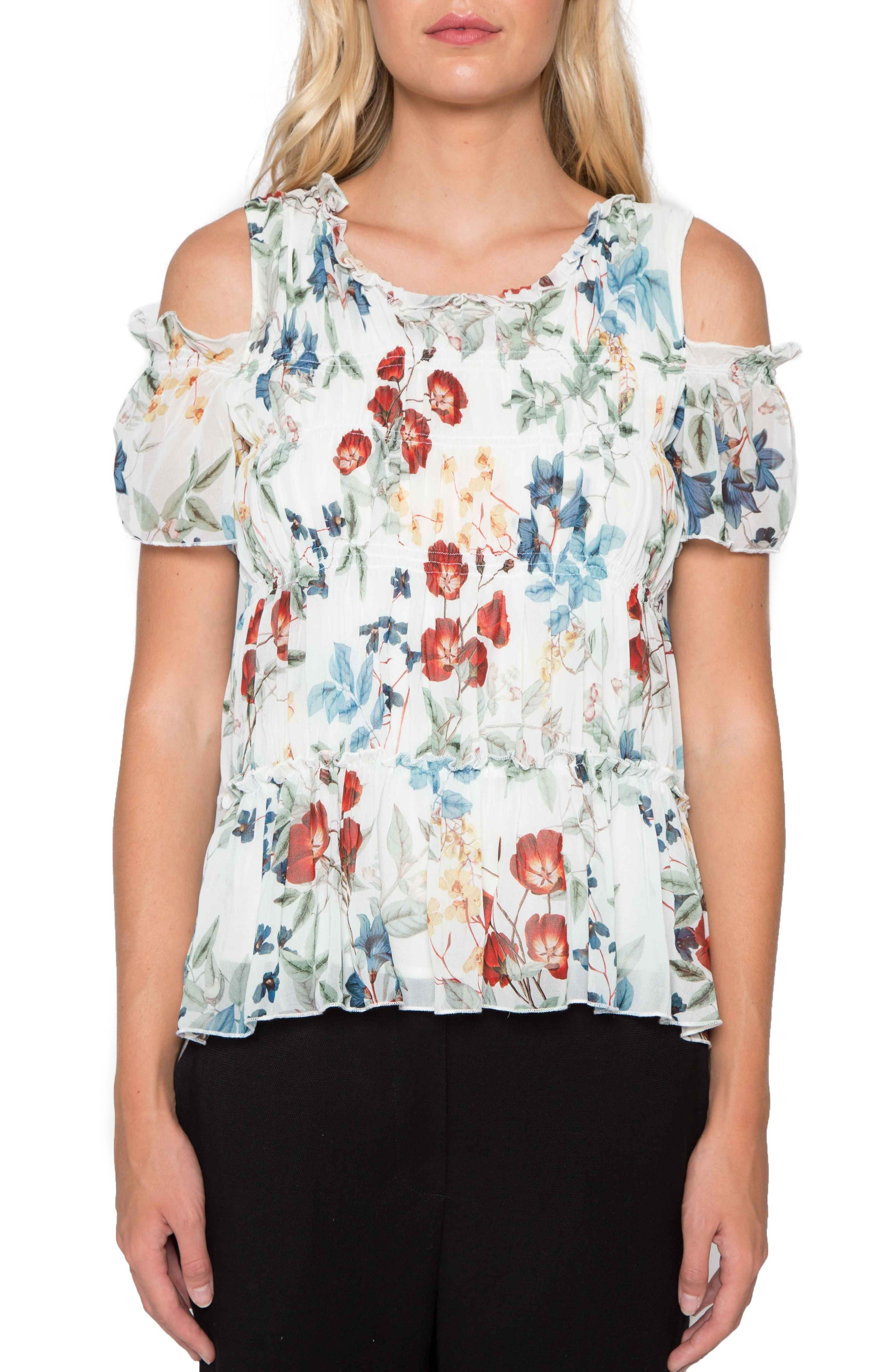 Willow & Clay Smocked Cold Shoulder Top