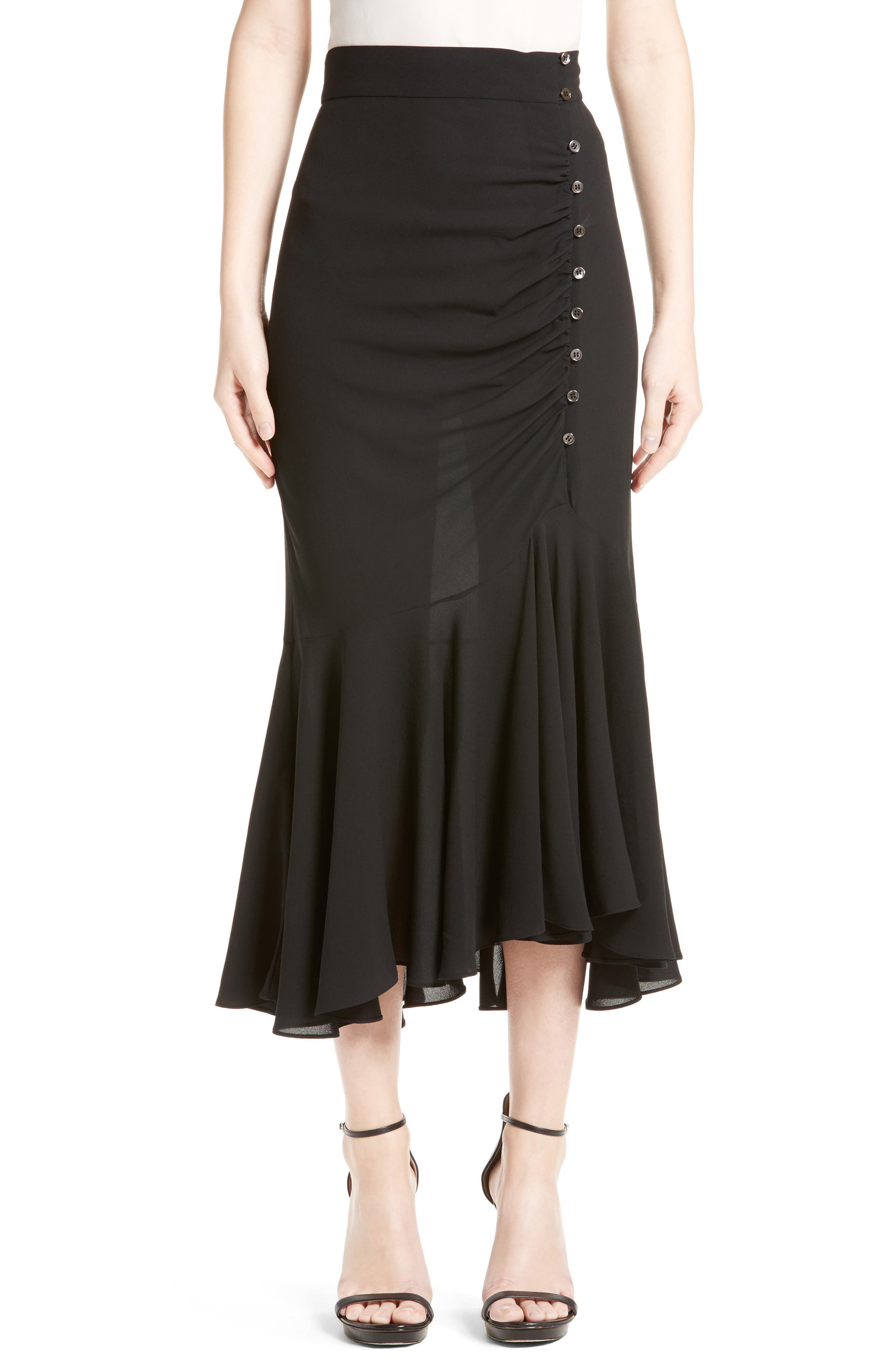 MICHAEL KORS Drape Silk Midi Skirt