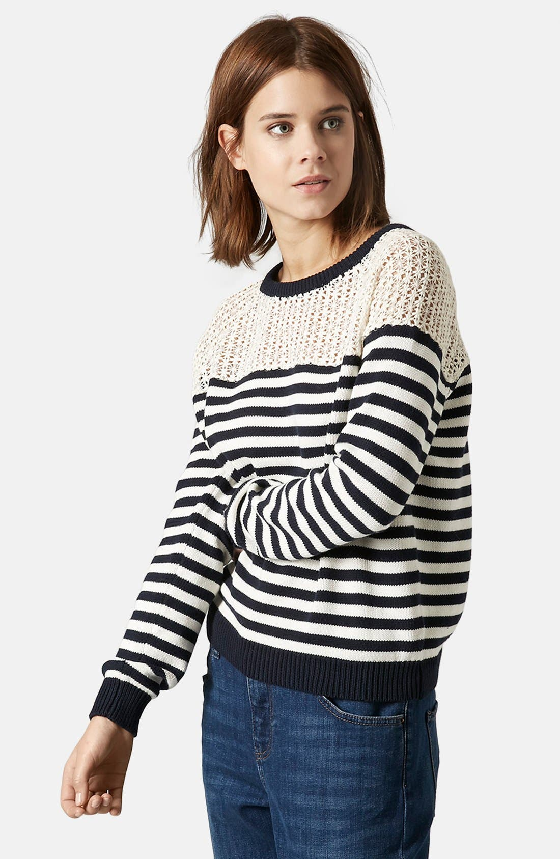 Main Image - Topshop Lace Stripe Sweater