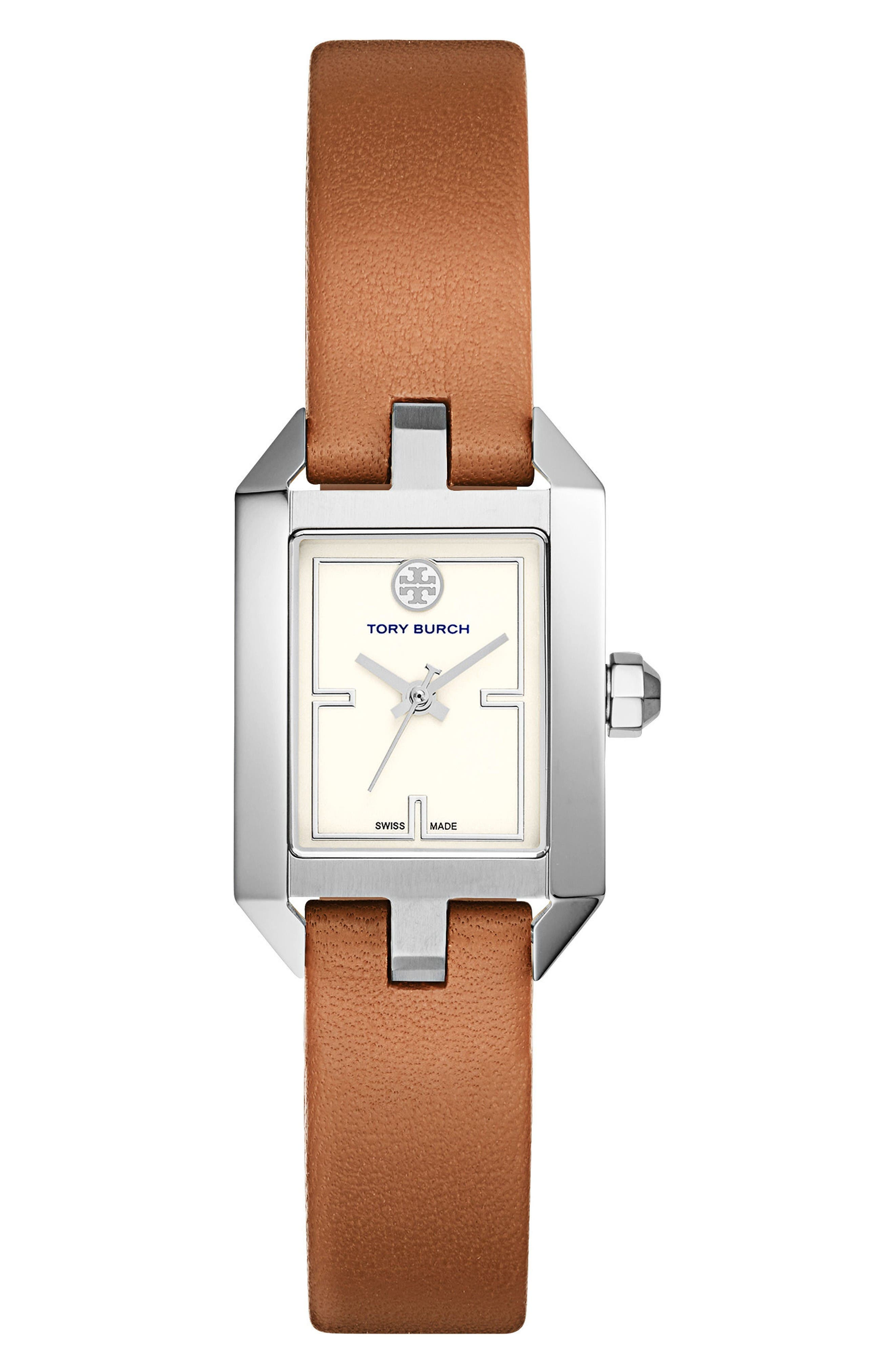 Tory Burch Dalloway Leather Strap Watch, 21mm x 24mm