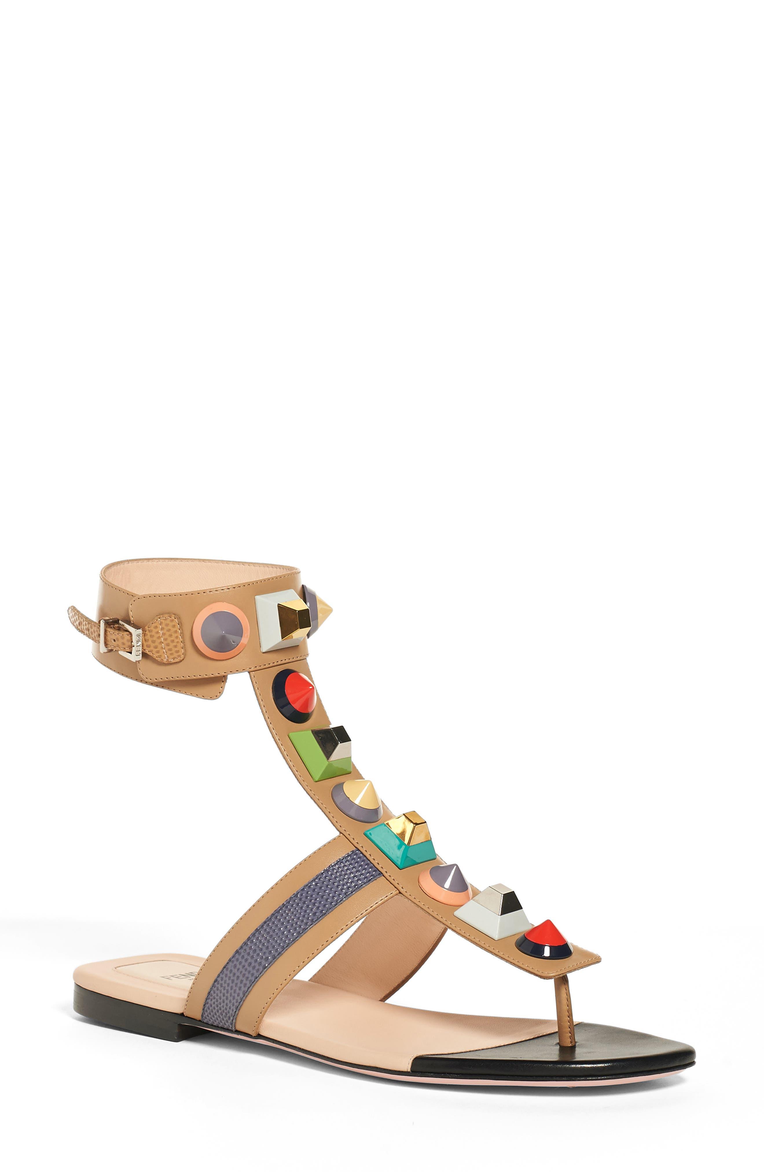 FENDI 'Rainbow' Studded Colorblock Gladiator Sandal