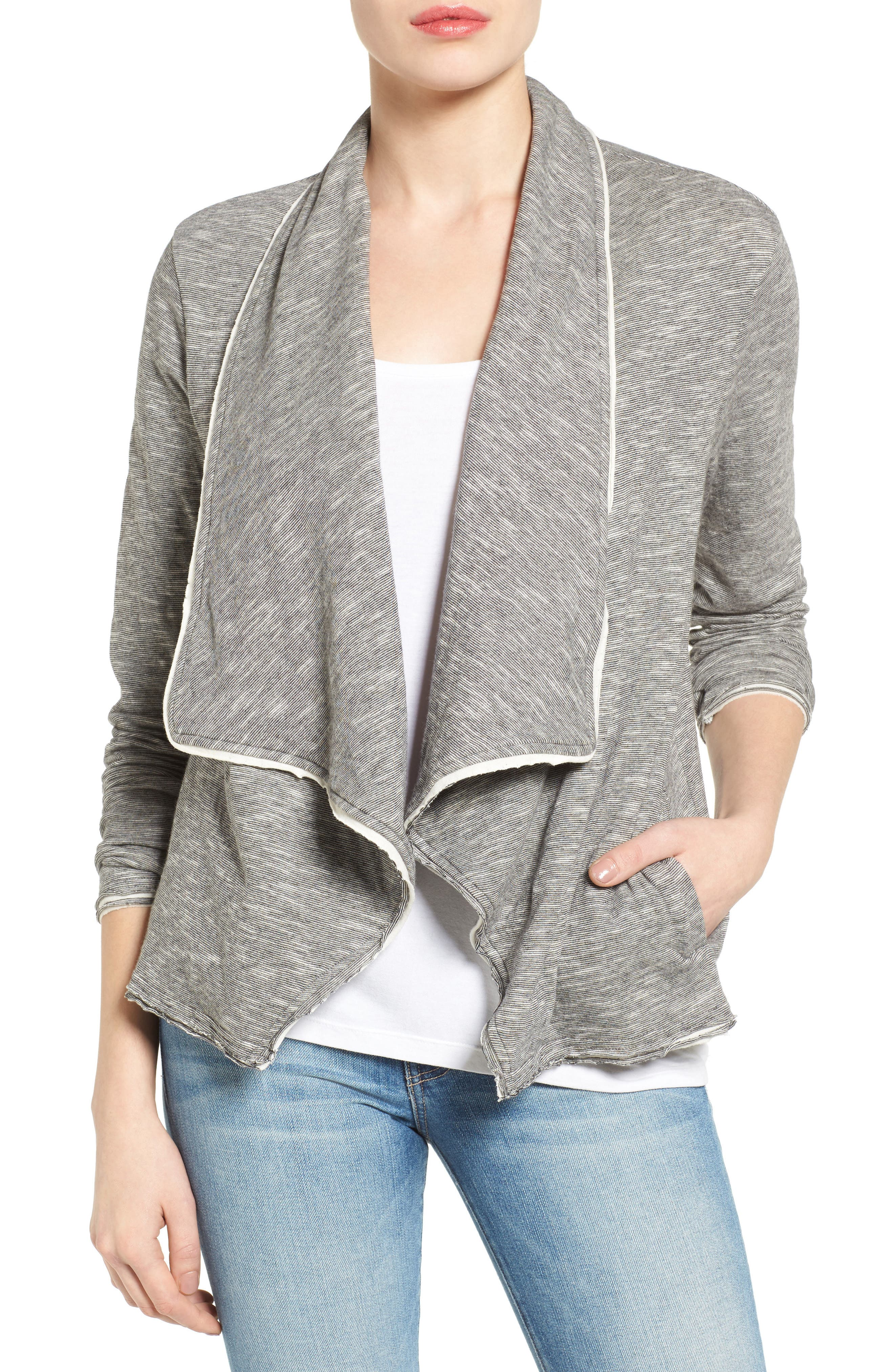 Caslon® Knit Drape Front Jacket (Regular & Petite)