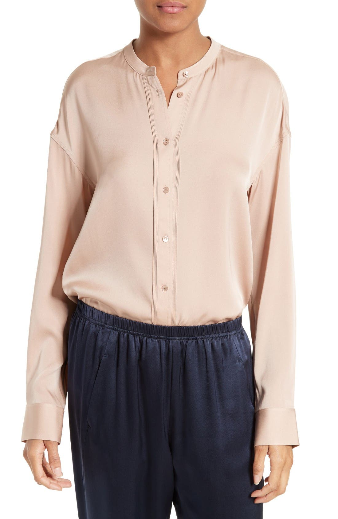 Vince Pintuck Placket Stretch Silk Blouse