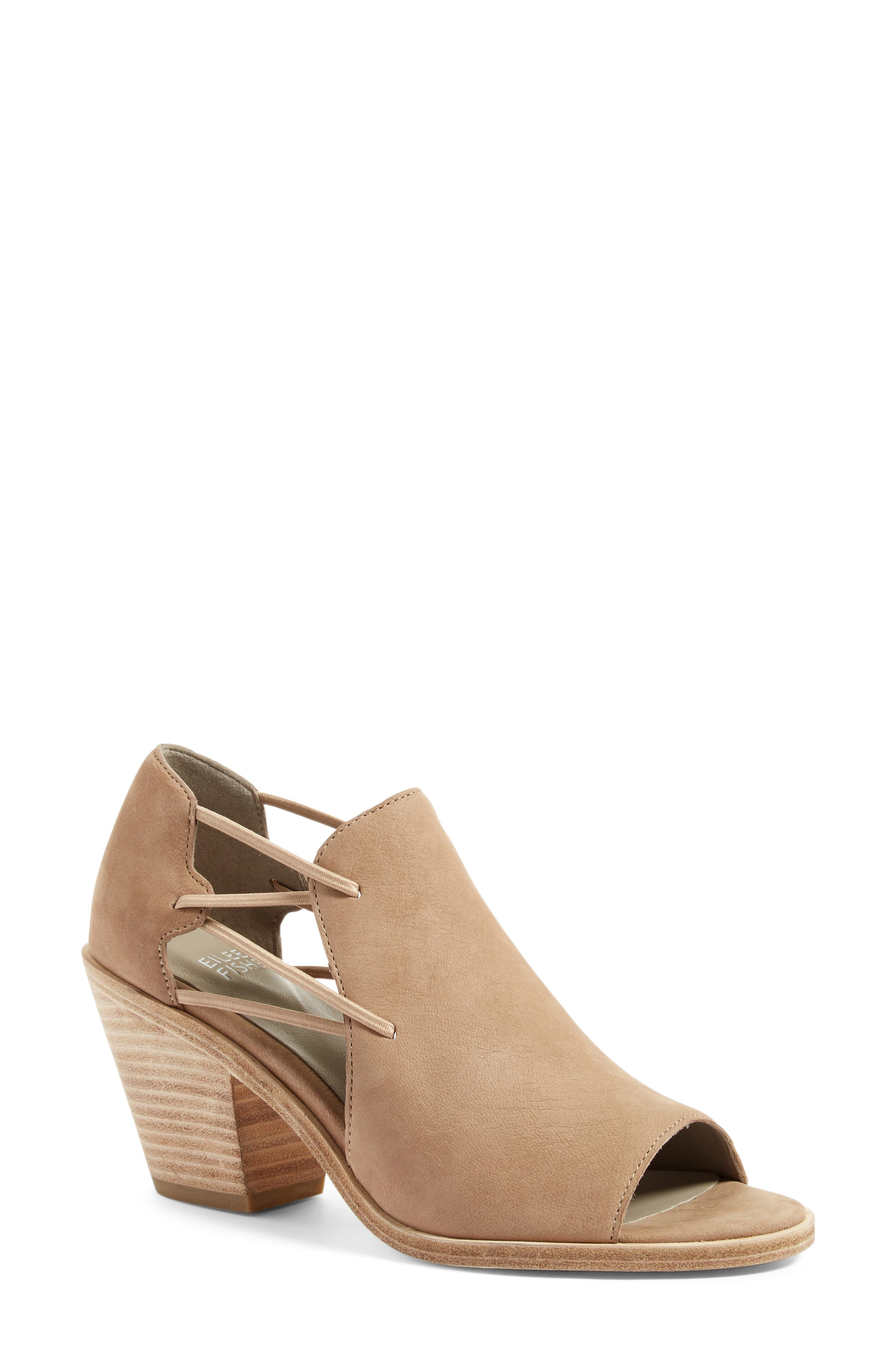 Eileen Fisher Nikki Peep Toe Sandal (Women)