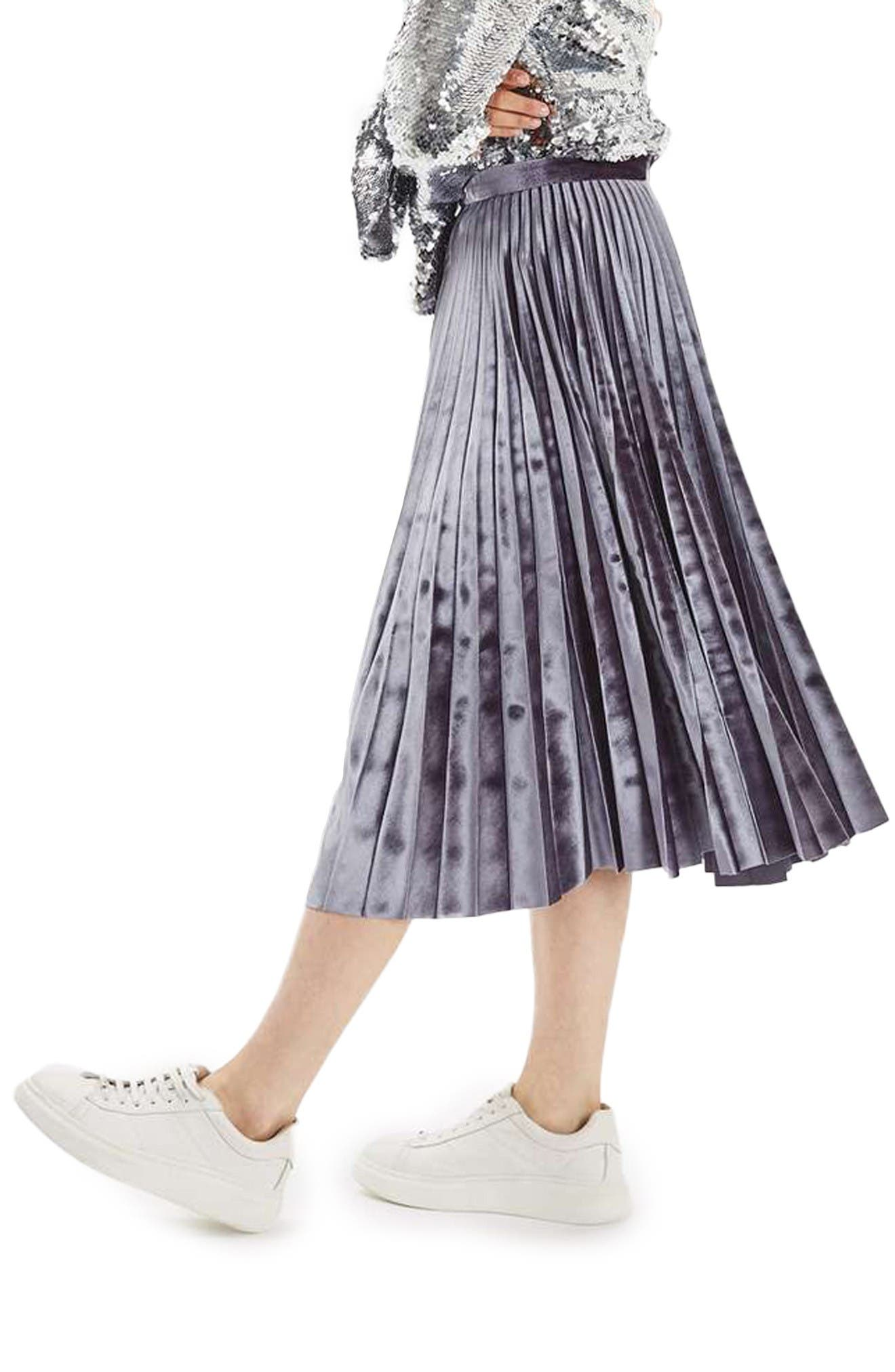 Main Image - Topshop Velvet Pleated Midi Skirt