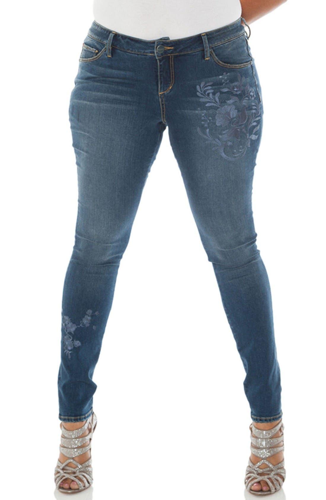 SLINK JEANS Embroidered Skinny Jeans