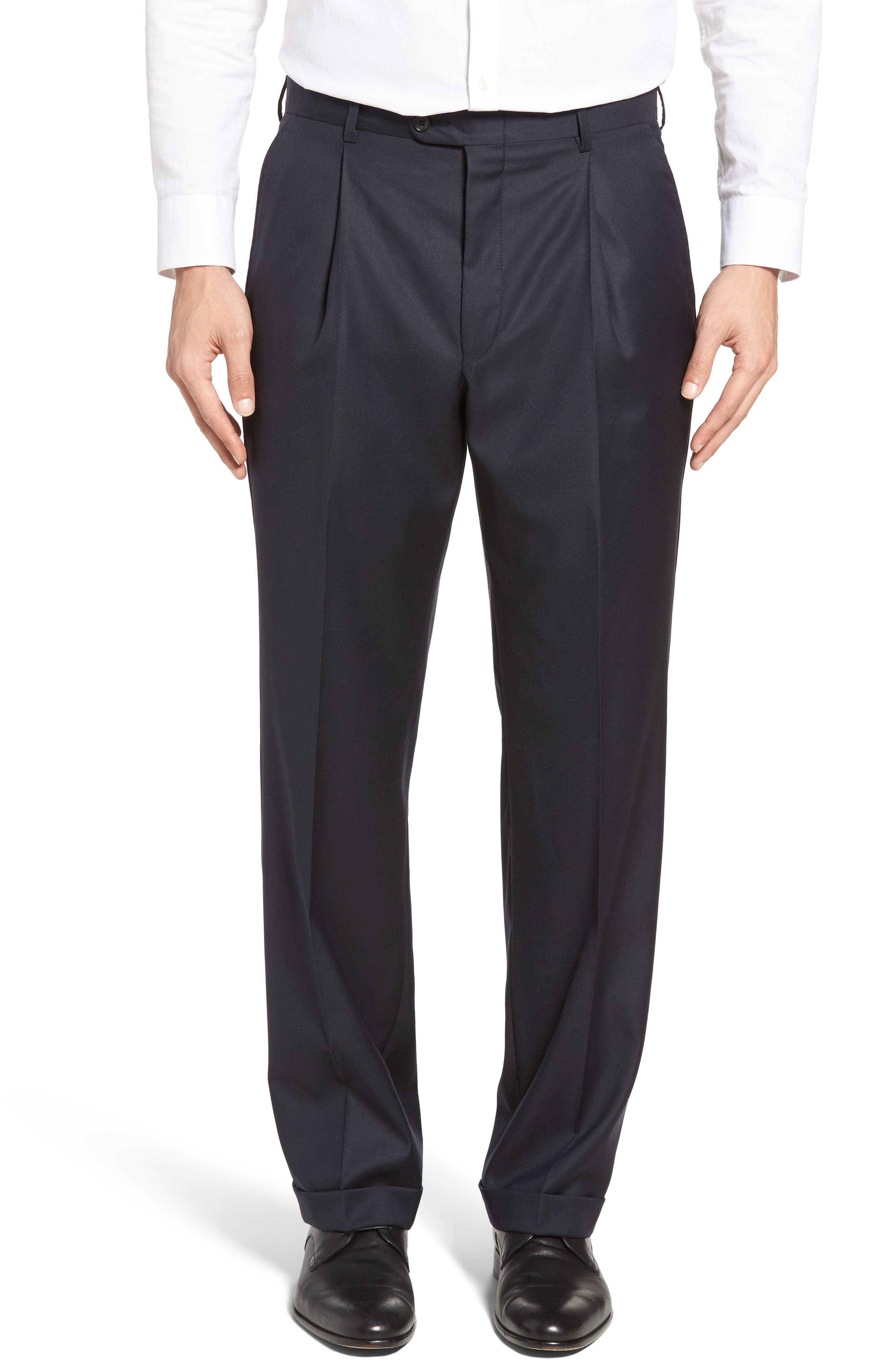 HICKEY FREEMAN Beacon Pleated Solid Wool Trousers