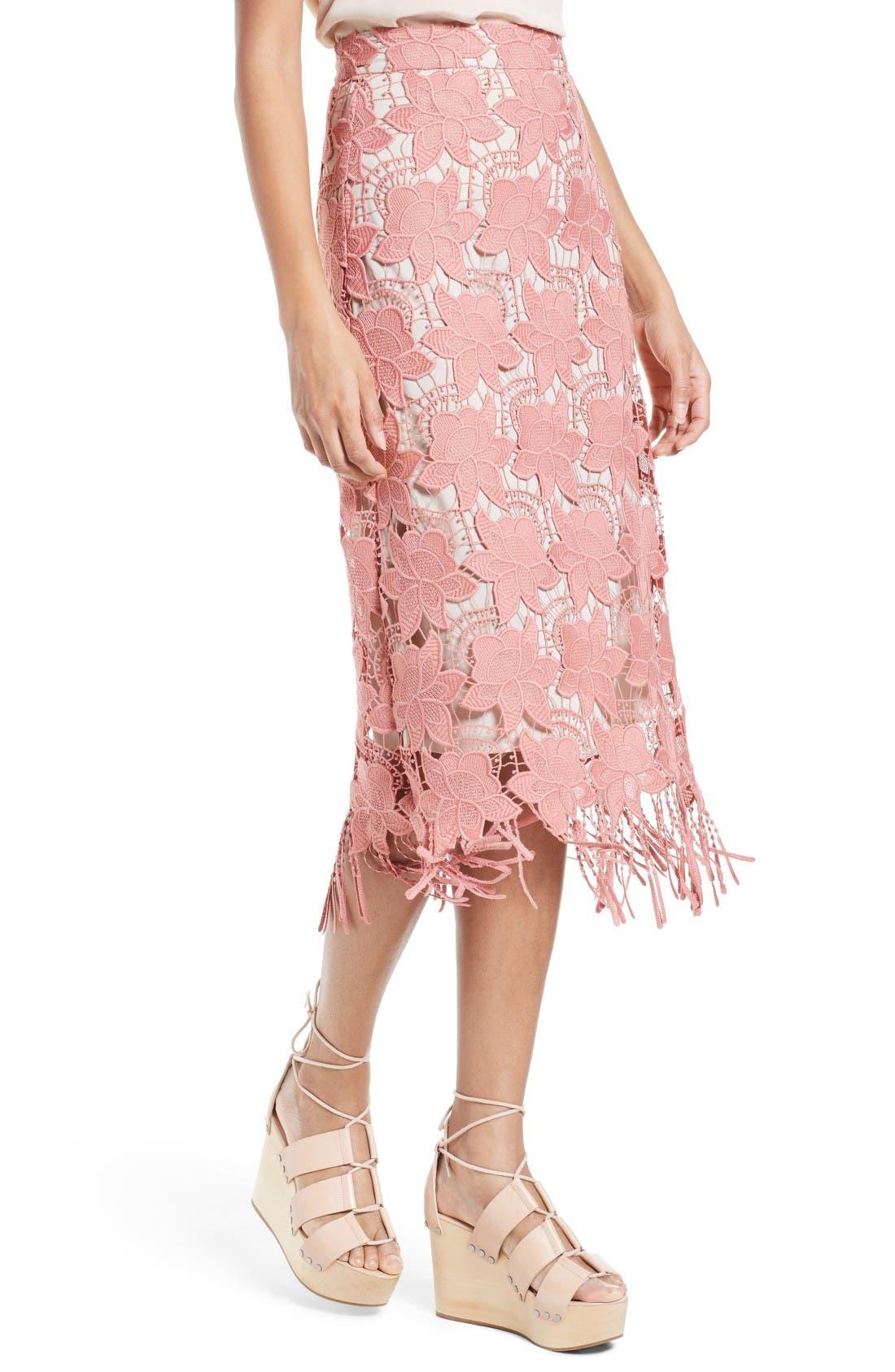 Alternate Image 4  - Alice + Olivia Strand Lace Pencil Skirt
