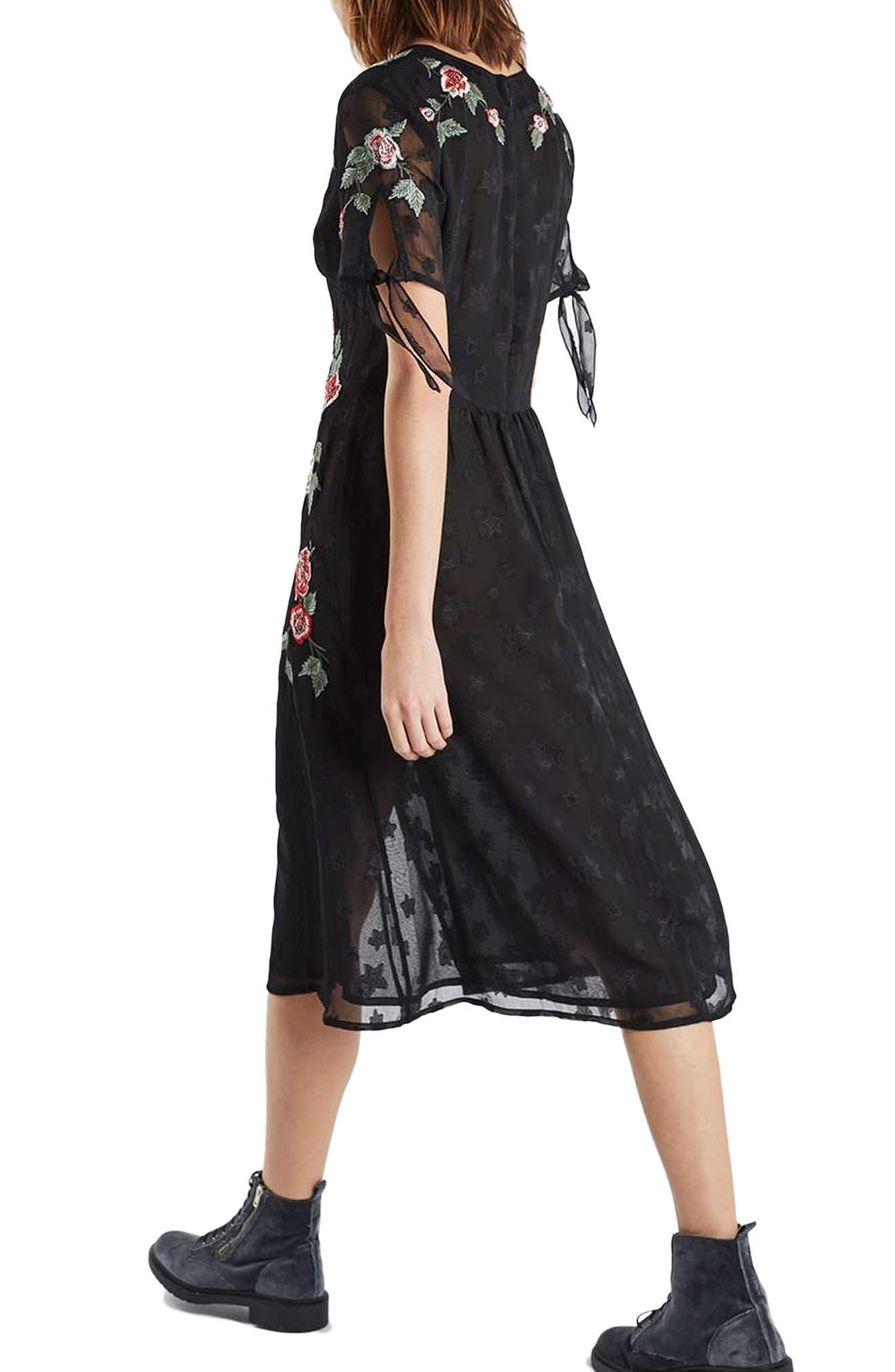 Alternate Image 3  - Topshop Embroidered Midi Dress