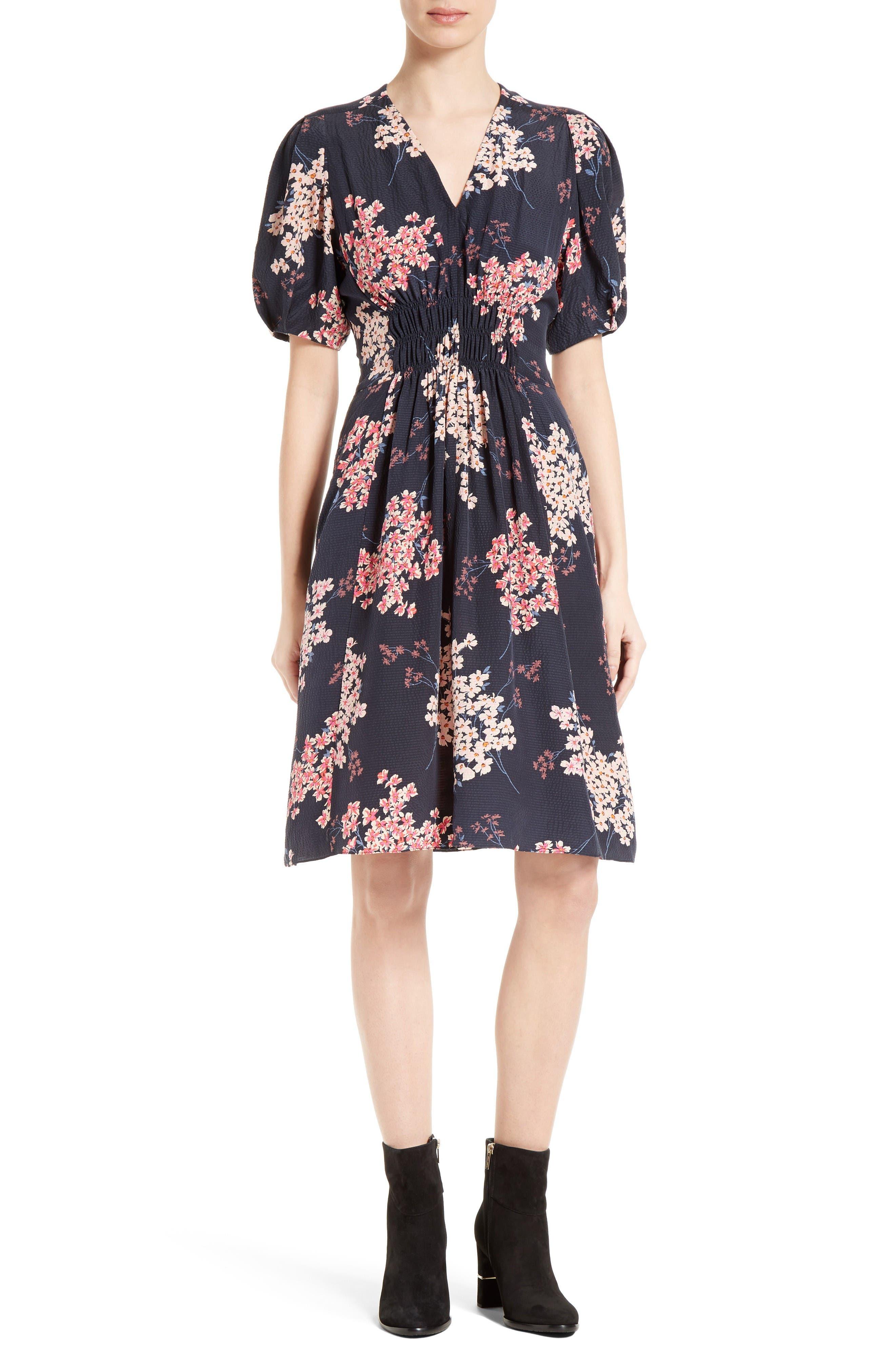 Alternate Image 1 Selected - Rebecca Taylor Phlox Silk Midi Dress