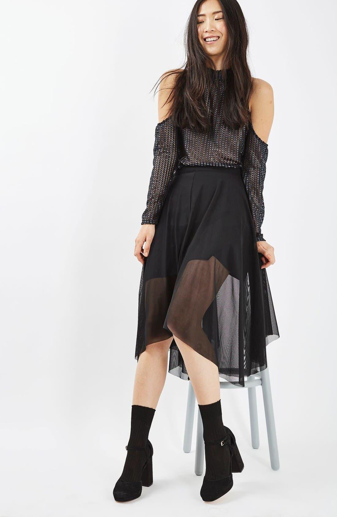 Alternate Image 2  - Topshop Tulle Midi Skirt