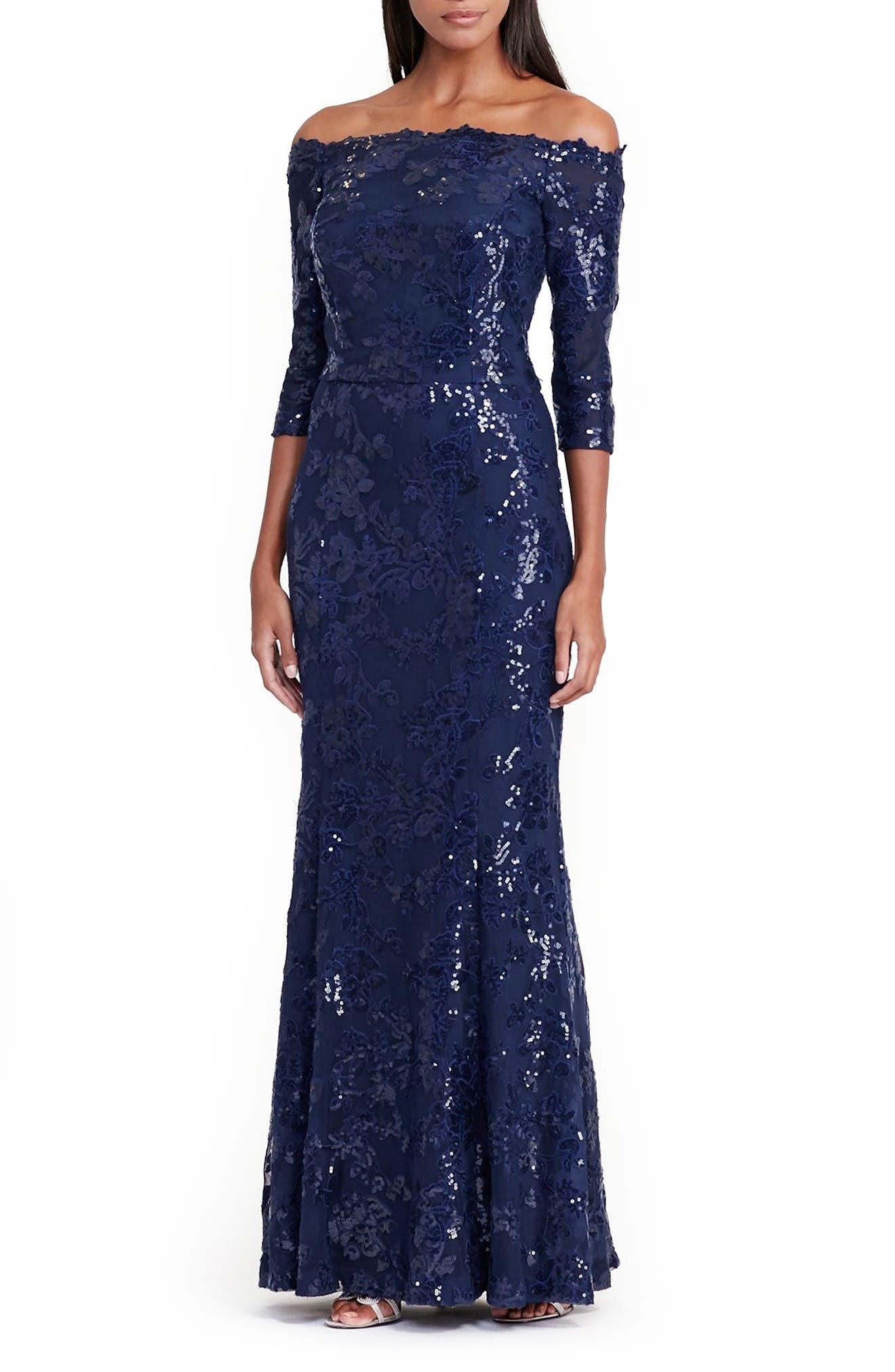 Alternate Image 1 Selected - Lauren Ralph Lauren Mesh Mermaid Gown