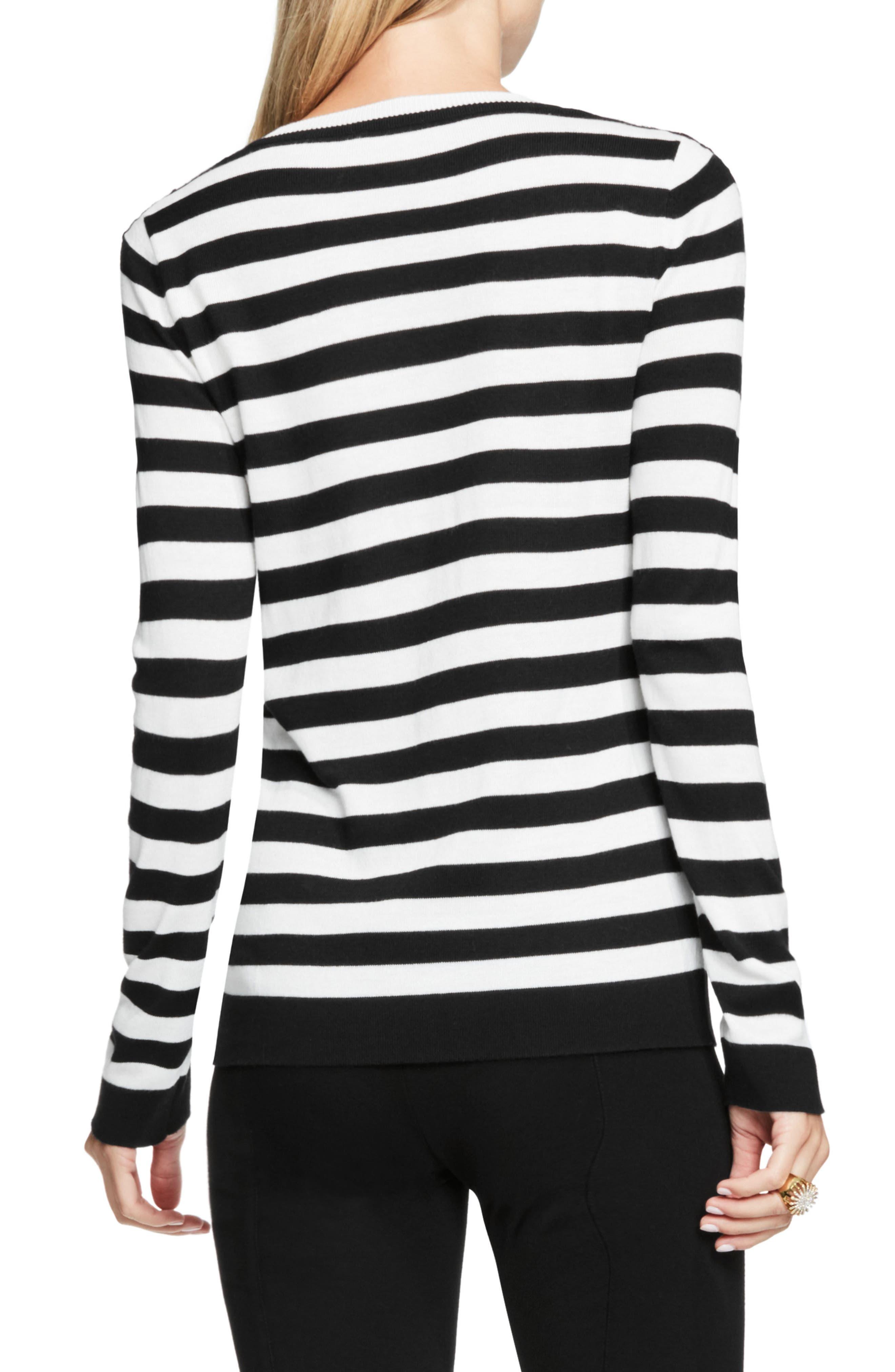 Alternate Image 2  - Vince Camuto Lace Trim Stripe Sweater (Petite)