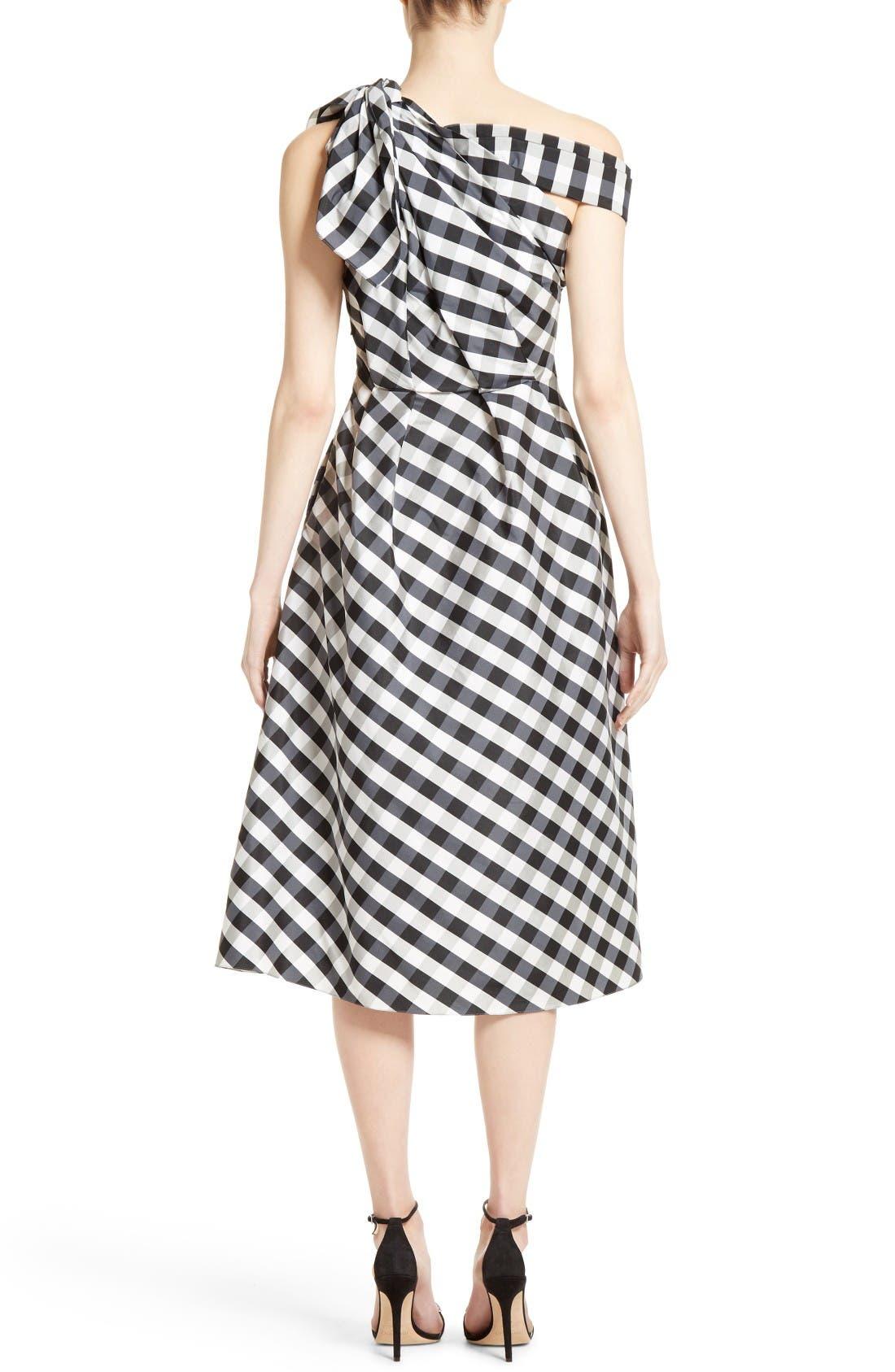 Alternate Image 2  - Carolina Herrera Bow Detail One-Shoulder Gingham Dress
