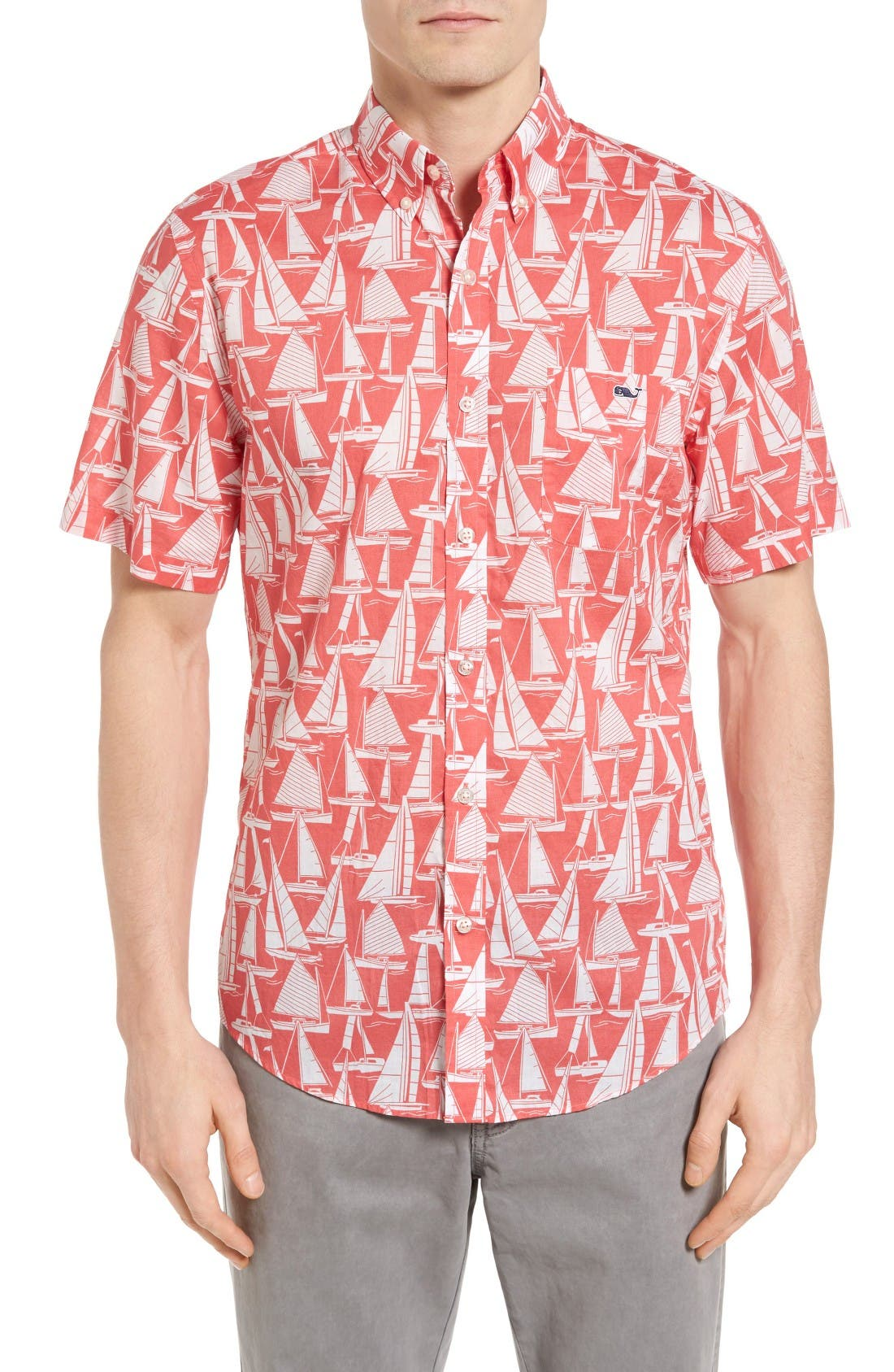 Vineyard Vines Boats Tucker Slim Fit Print Sport Shirt