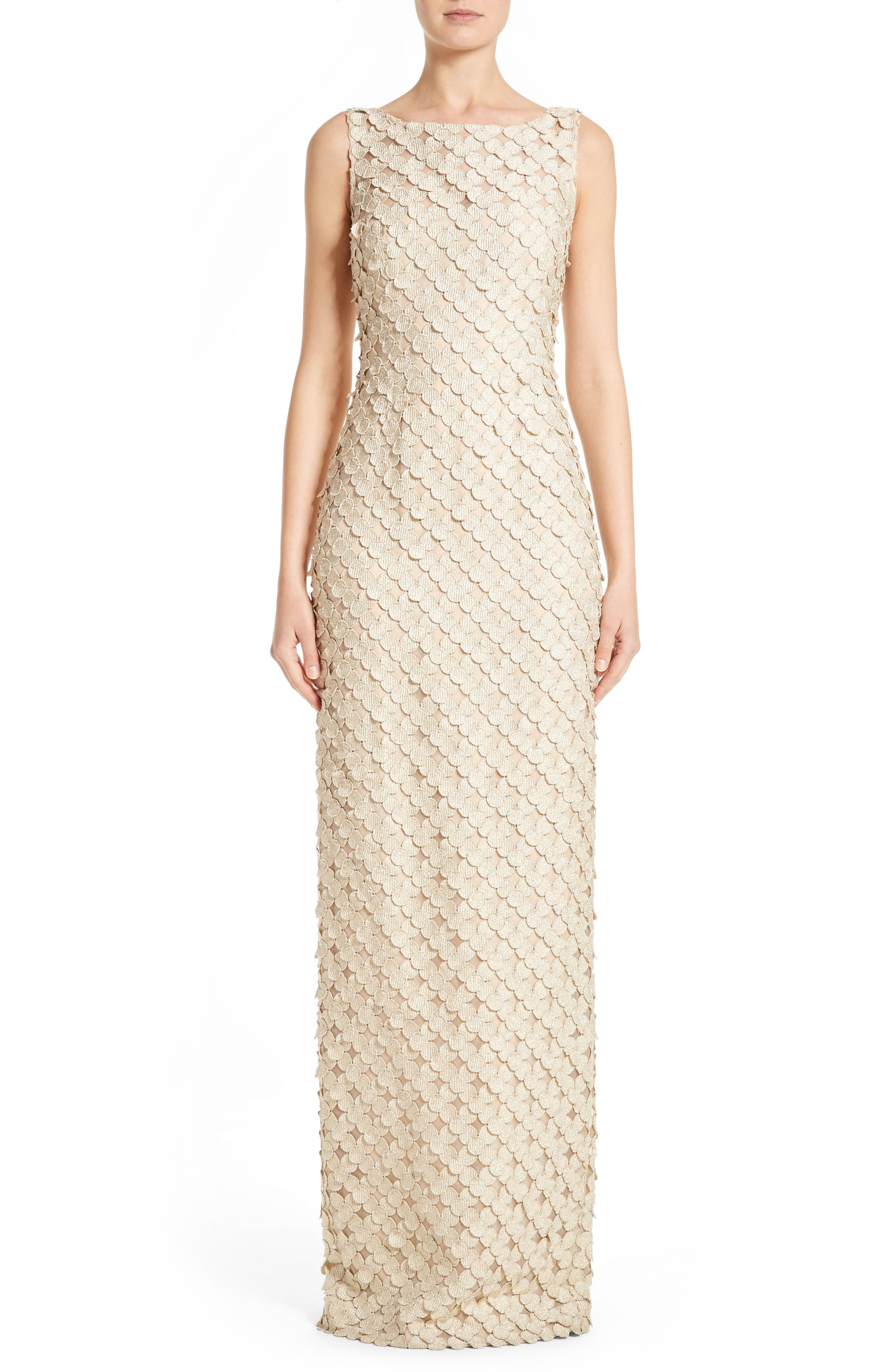 Carmen Marc Valvo Couture Circle Appliqué Sleeveless Column Gown