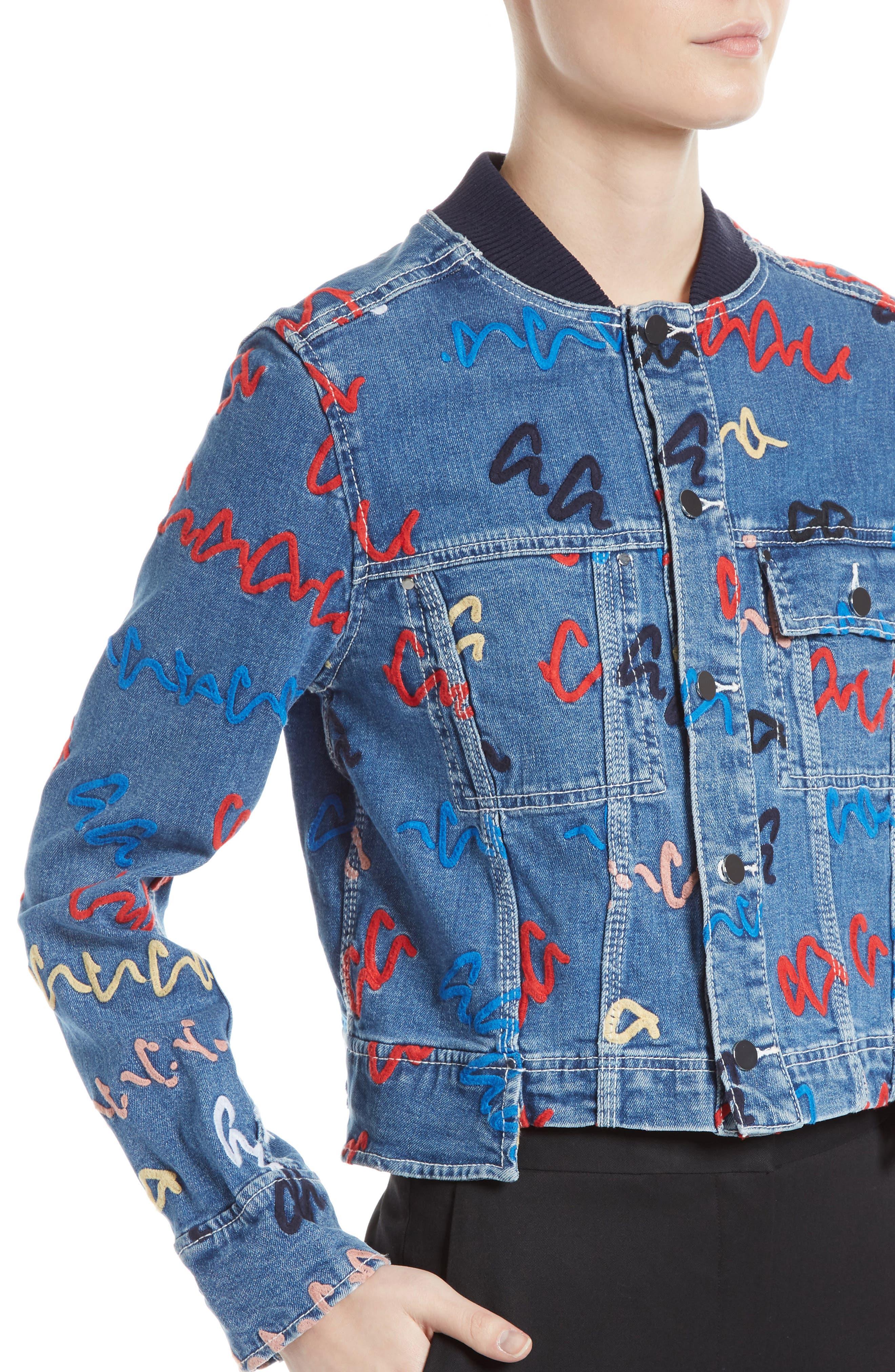 Alternate Image 5  - GREY Jason Wu Scribble Embroidered Denim Jacket