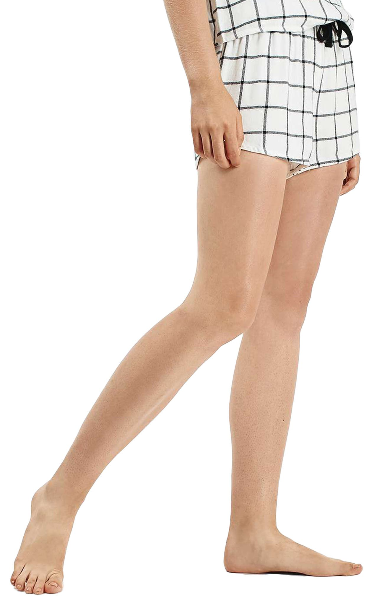 Main Image - Topshop Windowpane Check Pajama Shorts