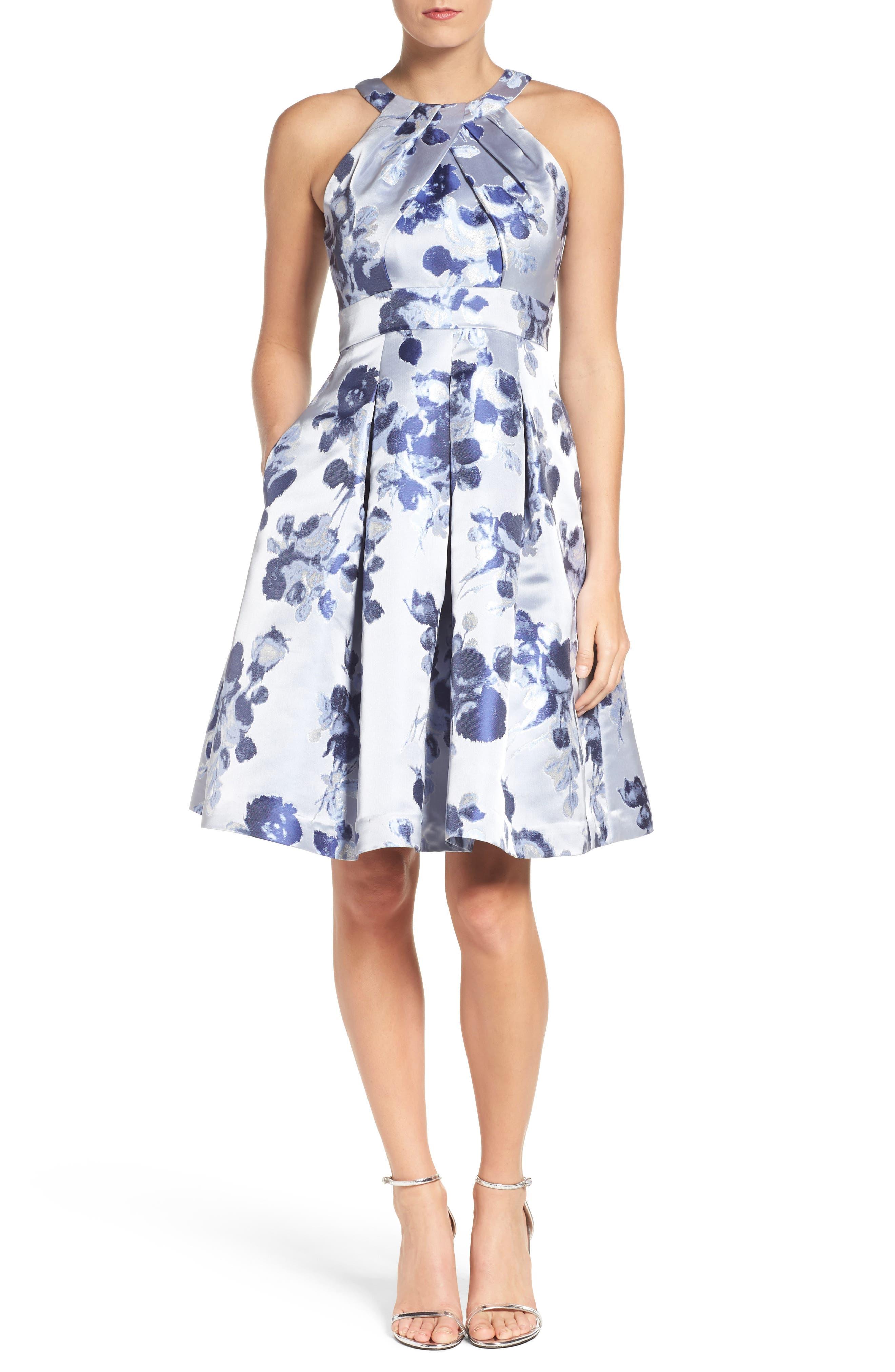 Eliza J Floral Fit Amp Flare Dress Nordstrom