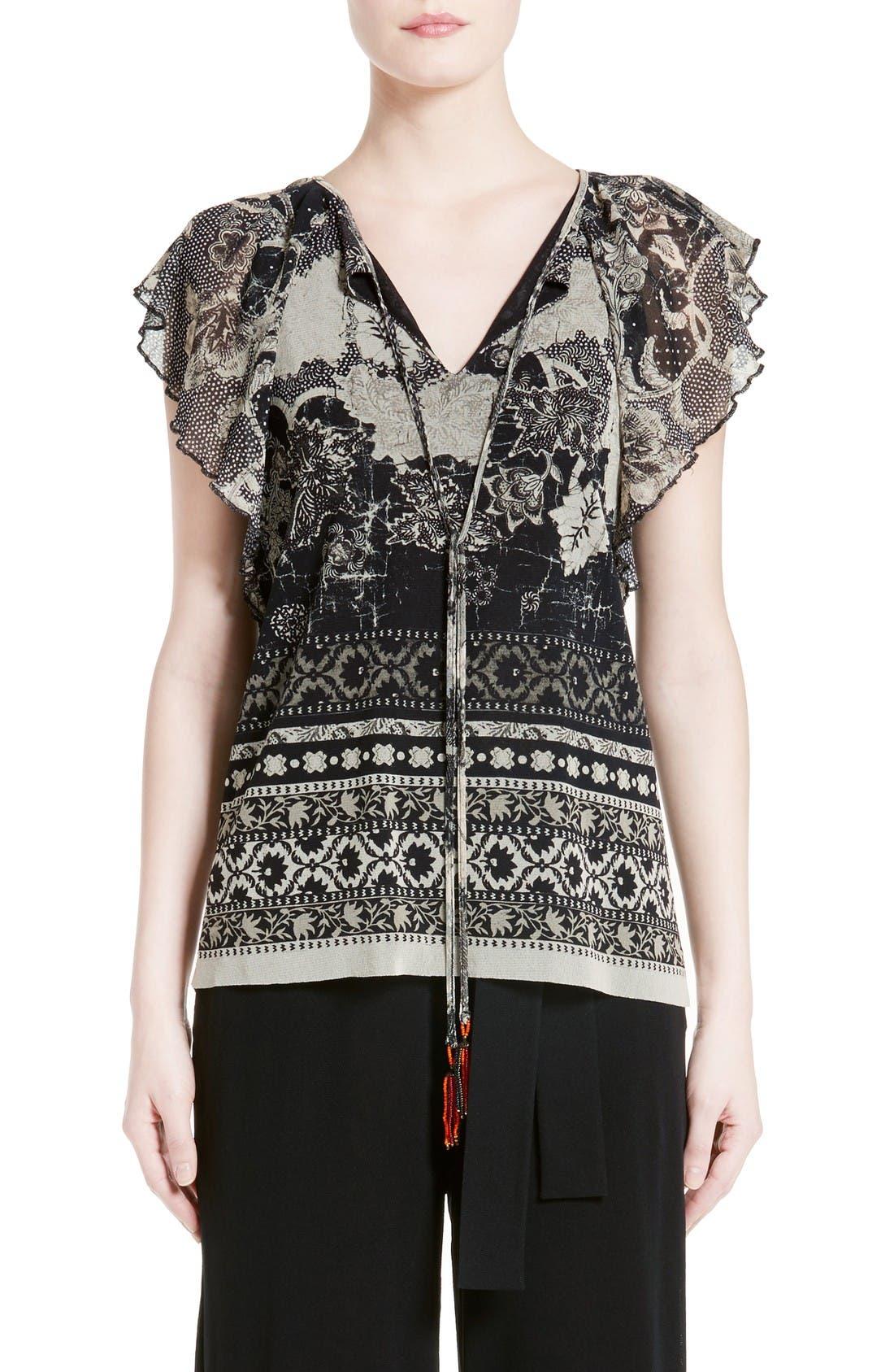 FUZZI Batik Ruffle Sleeve Top