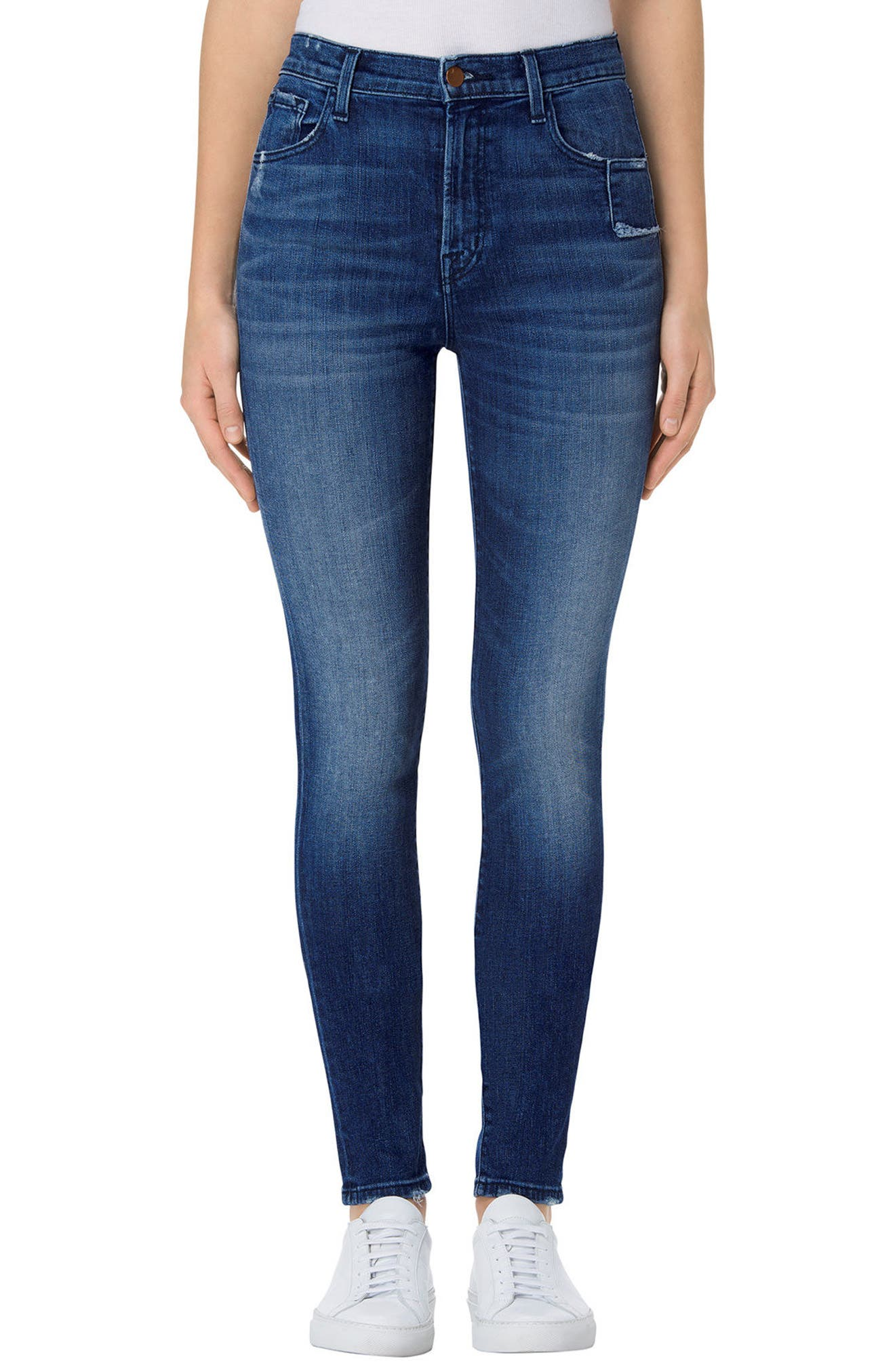 Main Image - J Brand Carolina Super High Rise Skinny Jeans (Gone)