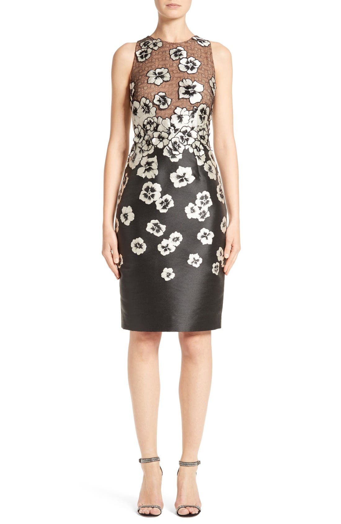 Carmen Marc Valvo Couture Floral Appliqué Sheath Dress