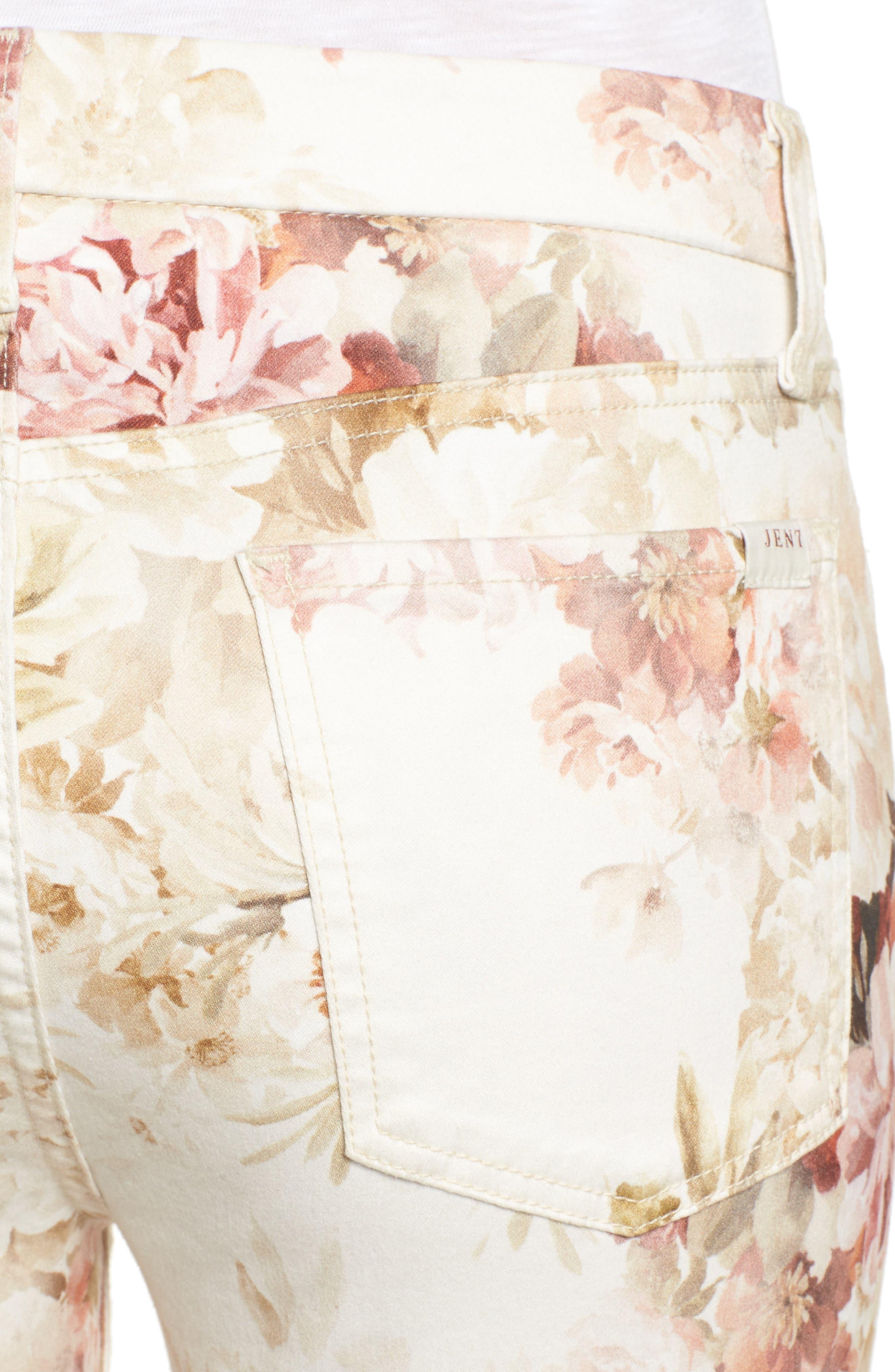 Alternate Image 4  - Jen7 Floral Print Stretch Ankle Skinny Jeans (Vintage Garden)