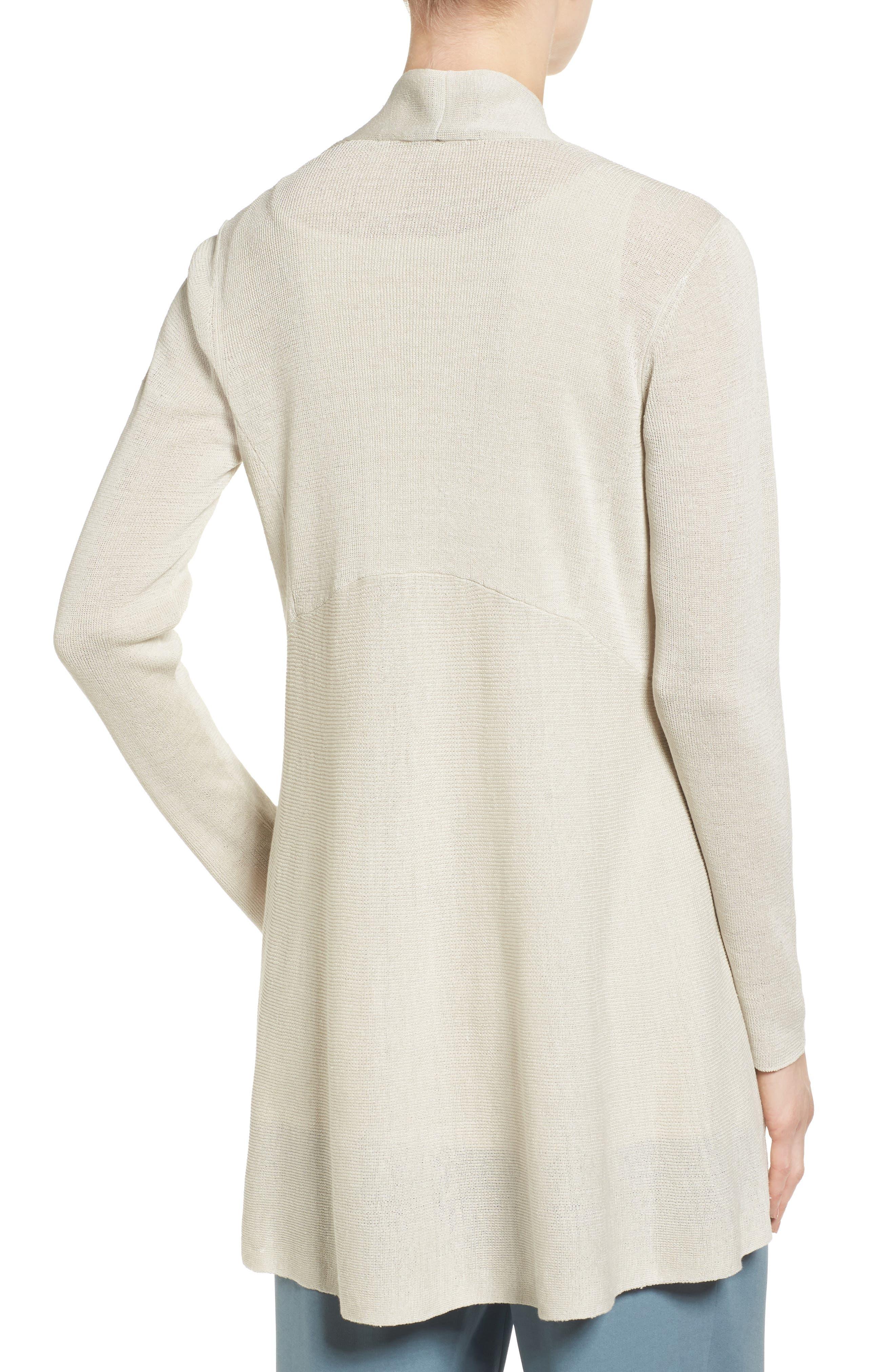 Alternate Image 2  - Eileen Fisher Shaped Organic Linen Blend Cardigan (Regular & Petite)