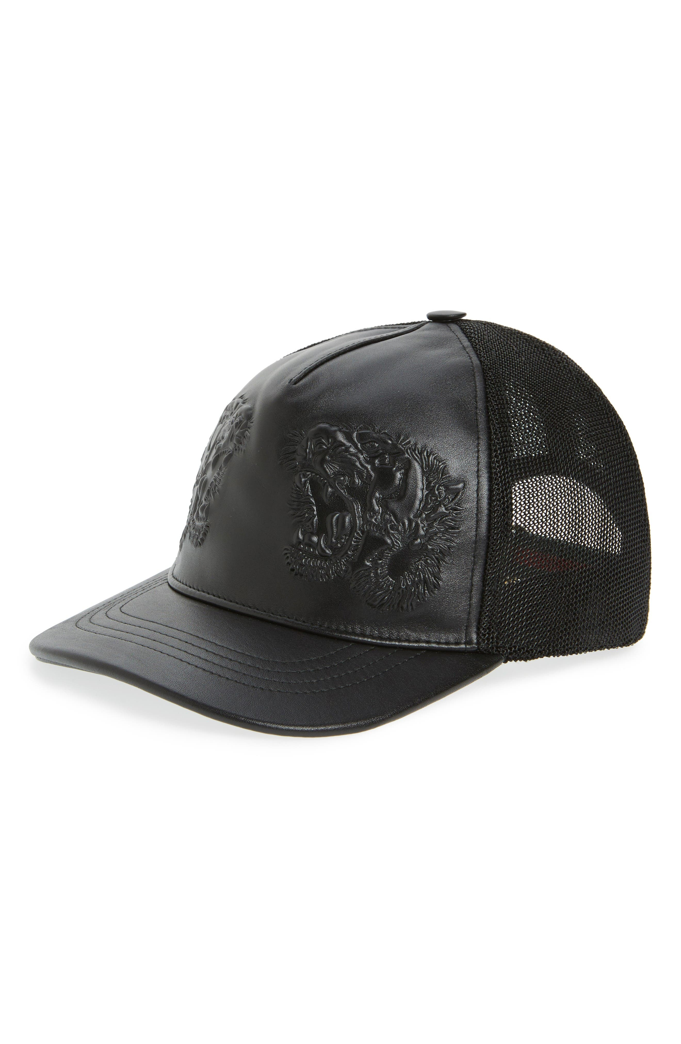 Alternate Image 1 Selected - Gucci Tiger Leather Baseball Cap