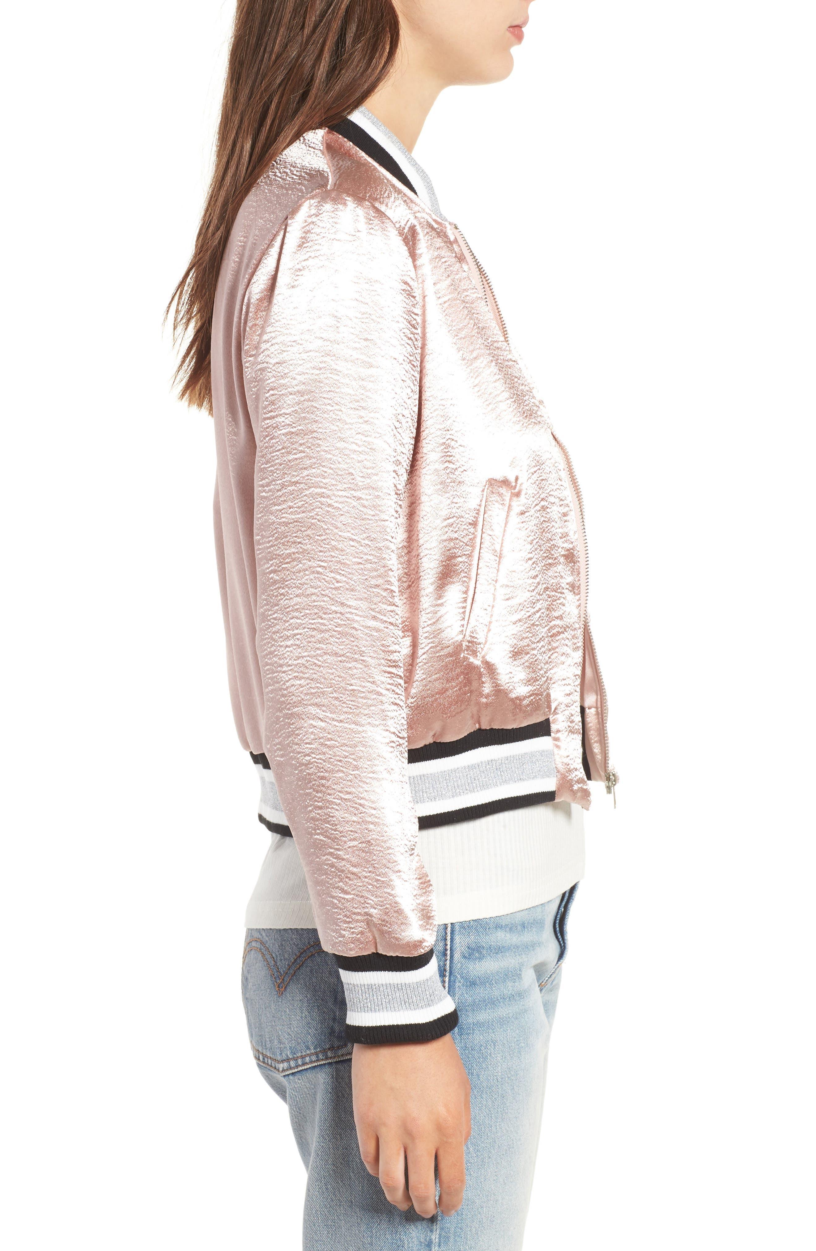 Alternate Image 3  - Elodie Satin Varsity Jacket
