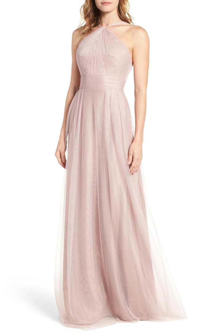 Monique lhuillier bridesmaids tulle halter style gown for Tulle halter wedding dress