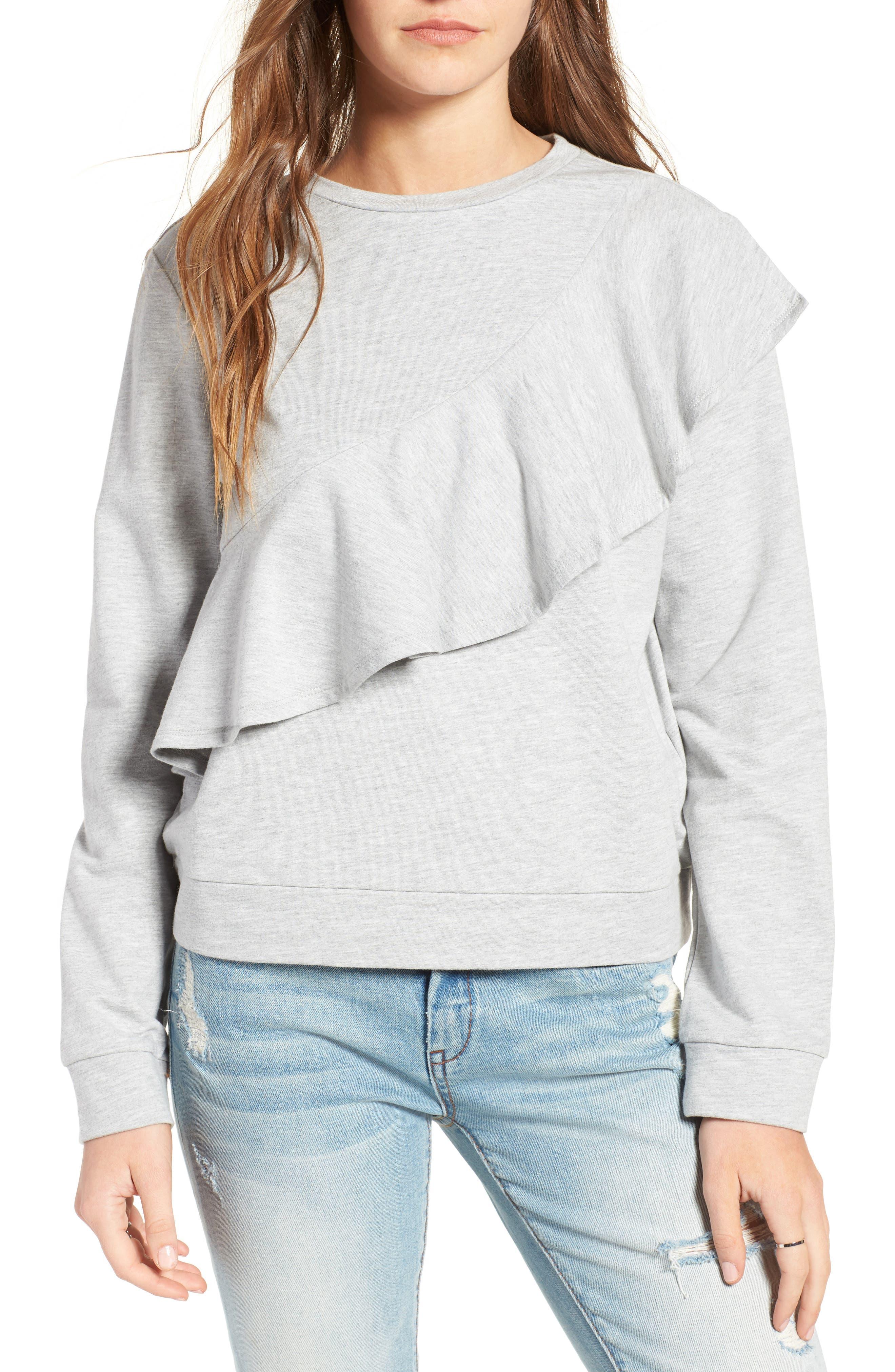 Alternate Image 1 Selected - Love, Fire Ruffle Front Sweatshirt