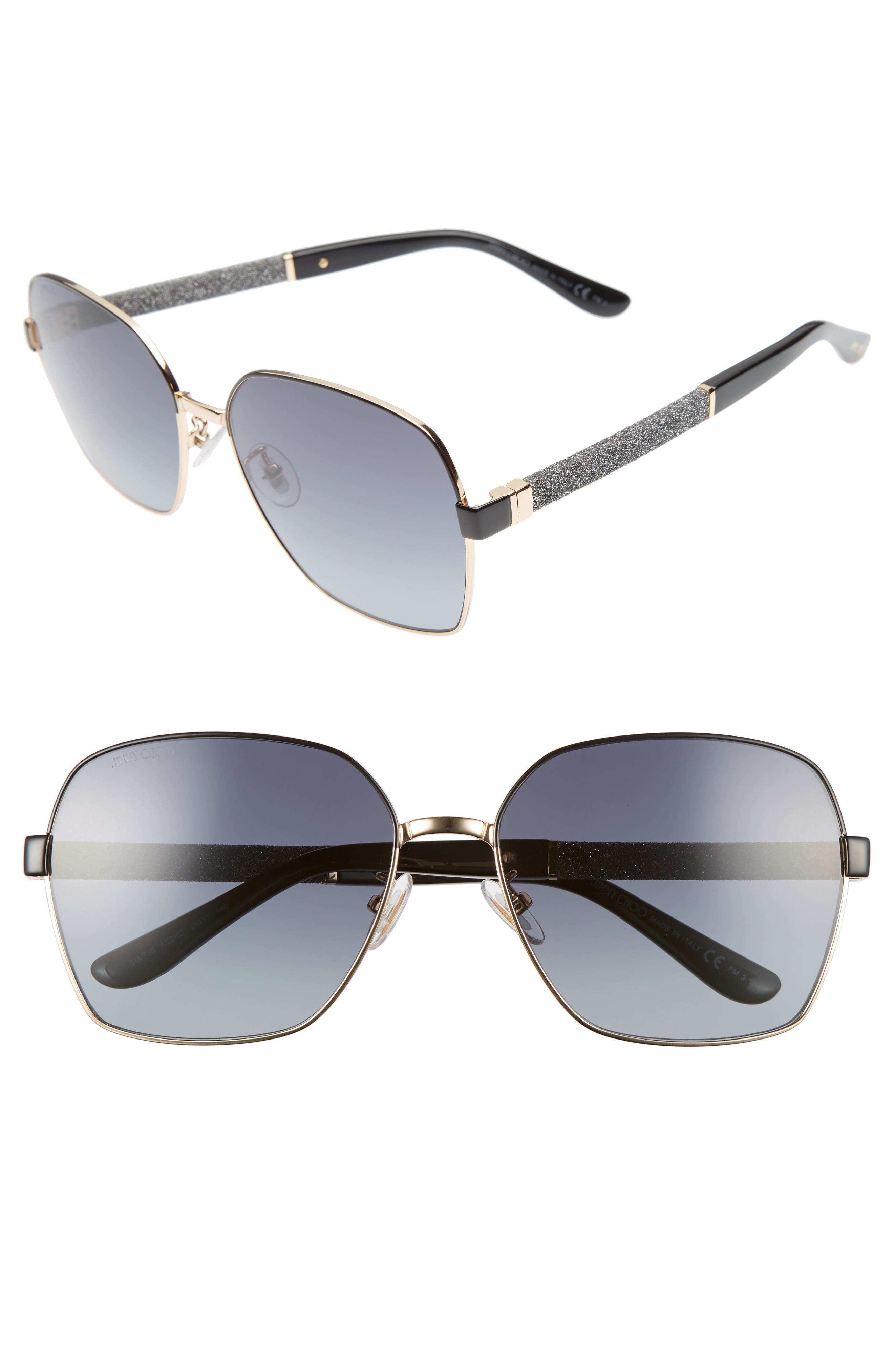 Jimmy Choo Sia 61mm Oversize Metal Sunglasses