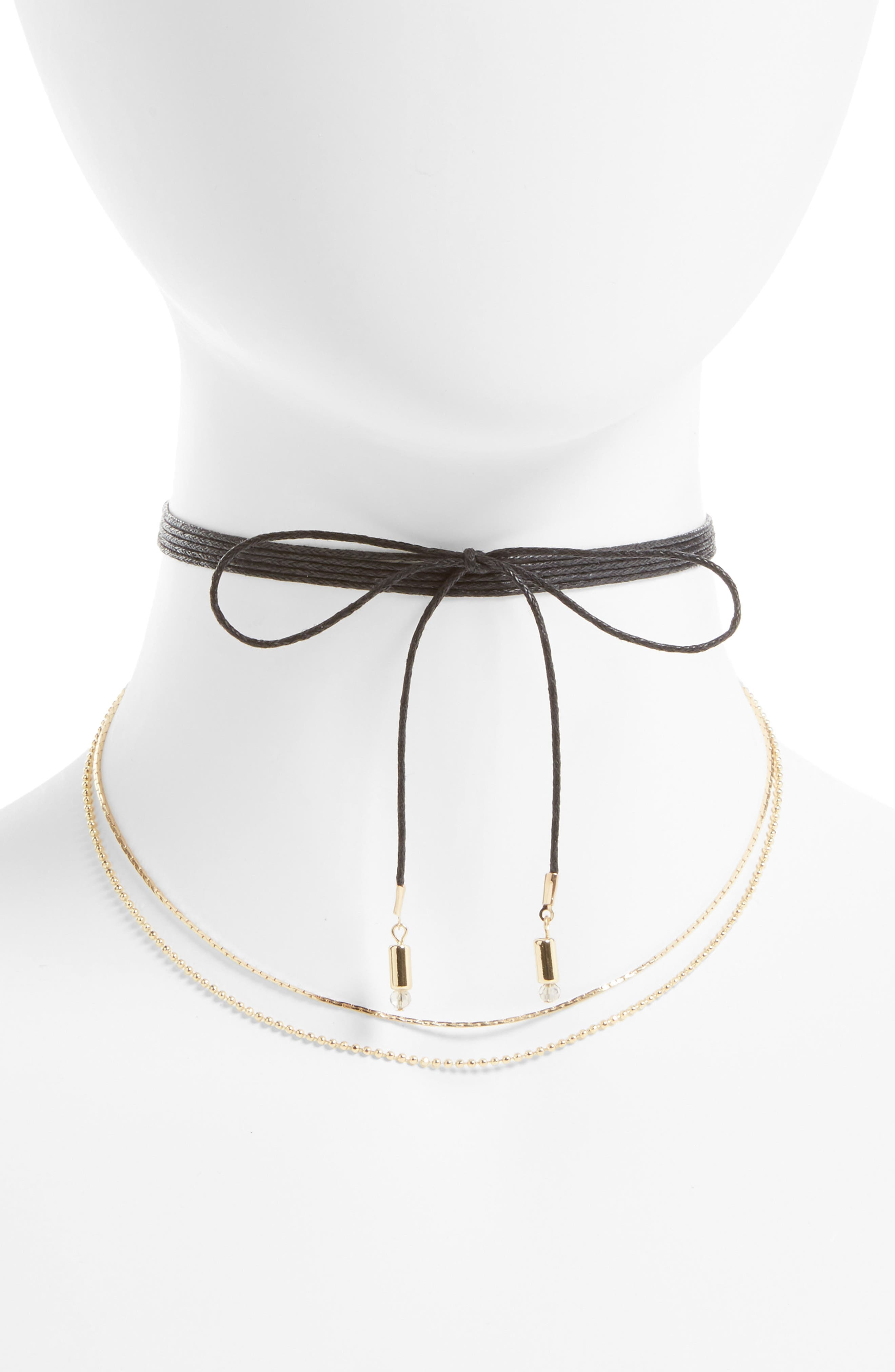 BP. Wrap Leather Cord & Chain Choker