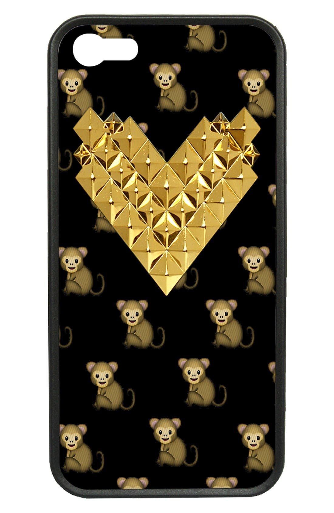 Alternate Image 1 Selected - wildflower 'Monkemoji Gold Studded Heart' iPhone 5 & 5s Case
