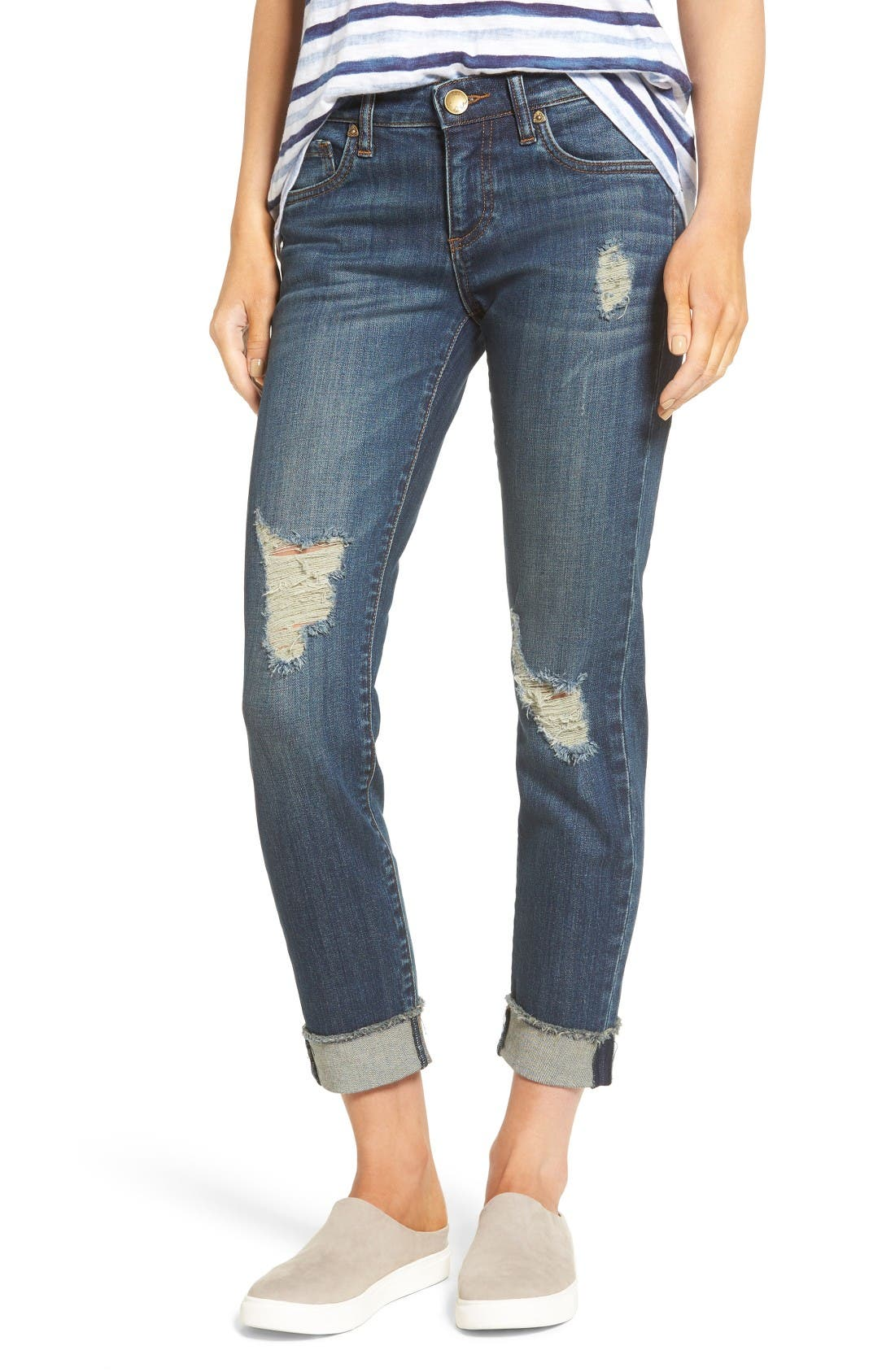 Alternate Image 1 Selected - KUT from the Kloth Amy Ripped Straight Leg Jeans (Animation)