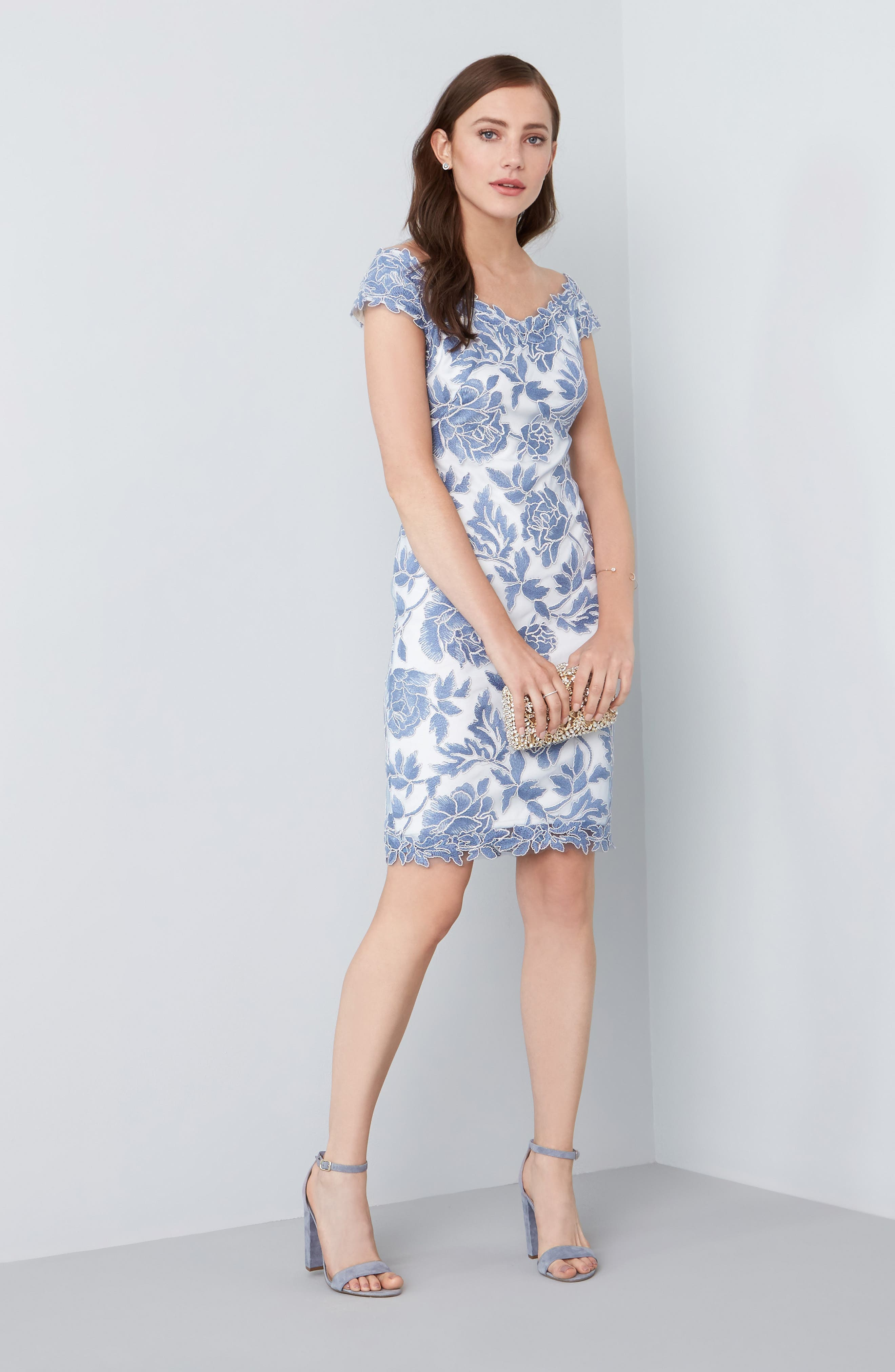 Alternate Image 2  - Tadashi Shoji Embroidered Mesh Sheath Dress (Regular & Petite)