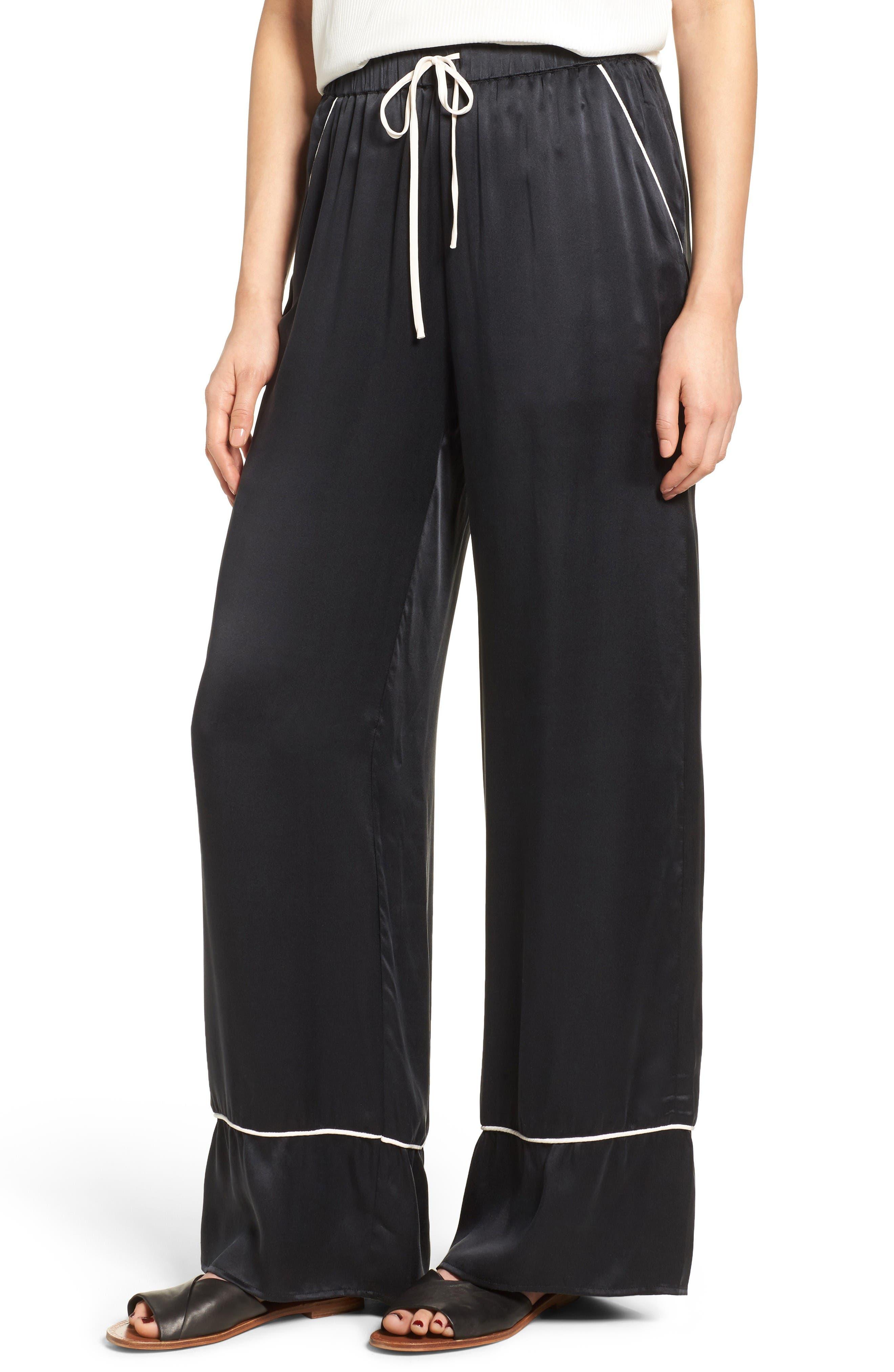 MAJORELLE Eaton Silk Wide Leg Pants
