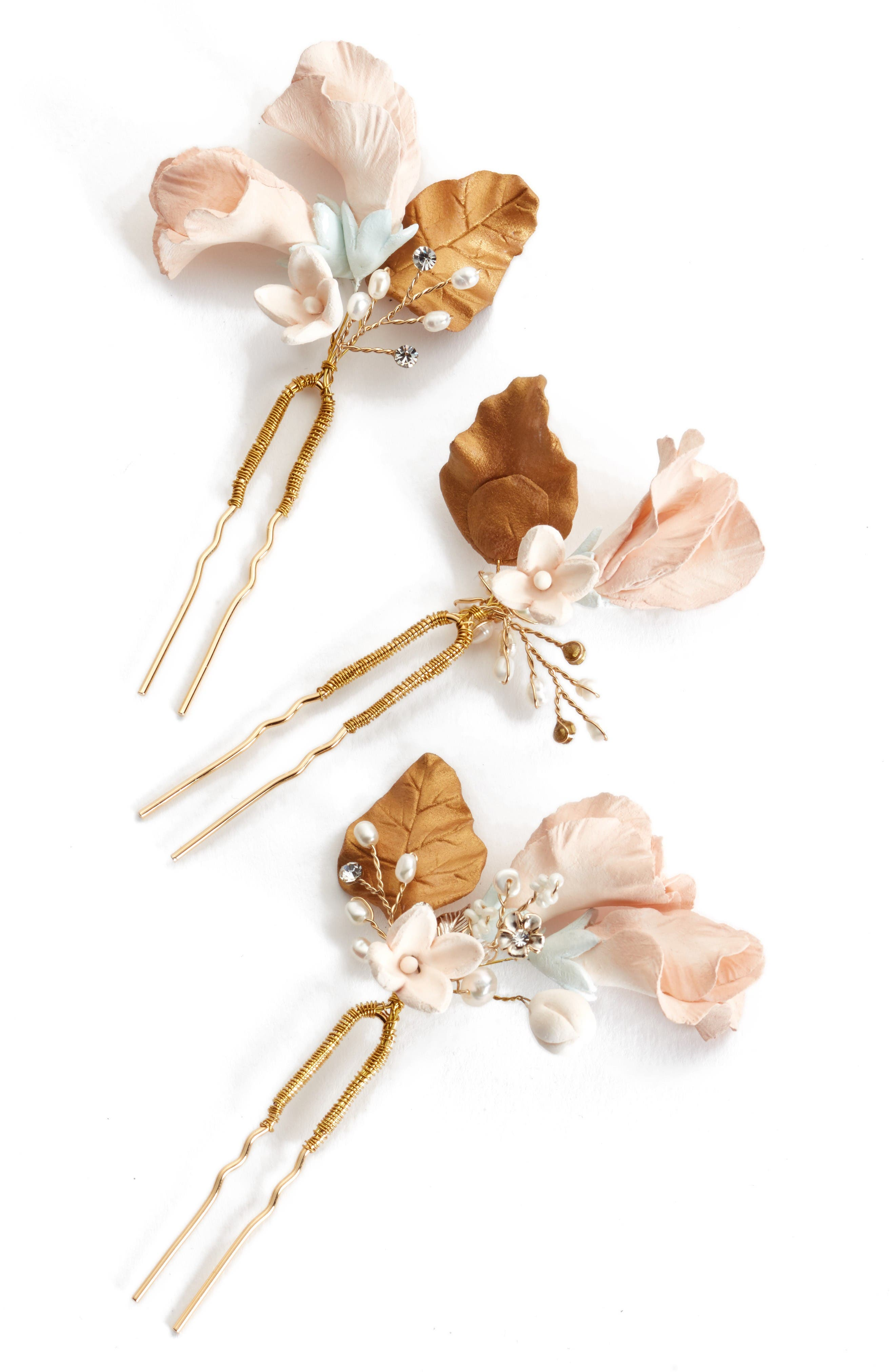 Alternate Image 2  - twigs & honey Sweet Pea Set of 3 Hairpins