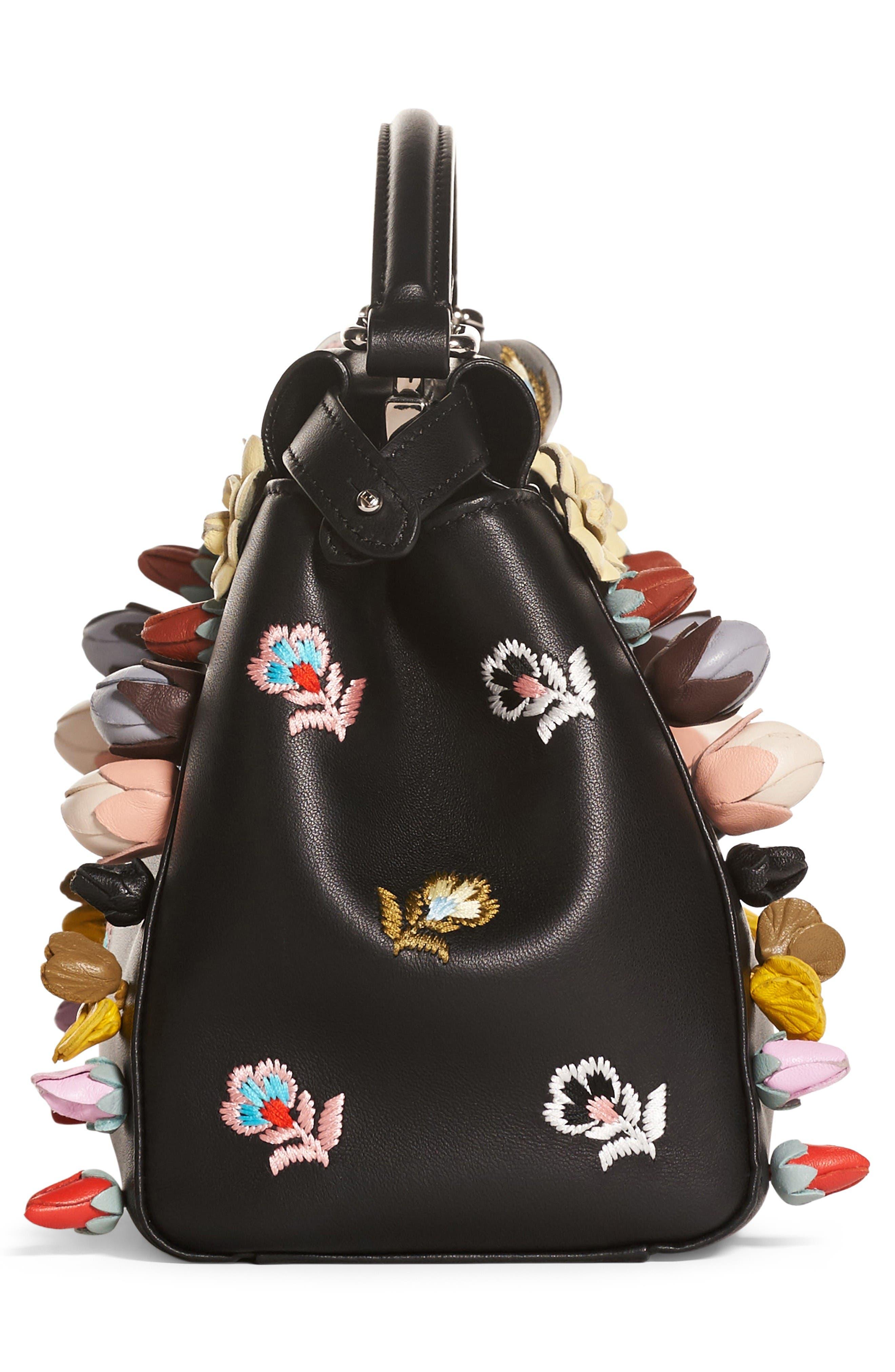 Alternate Image 4  - Fendi Mini Peekaboo Floral Appliqué Leather Satchel