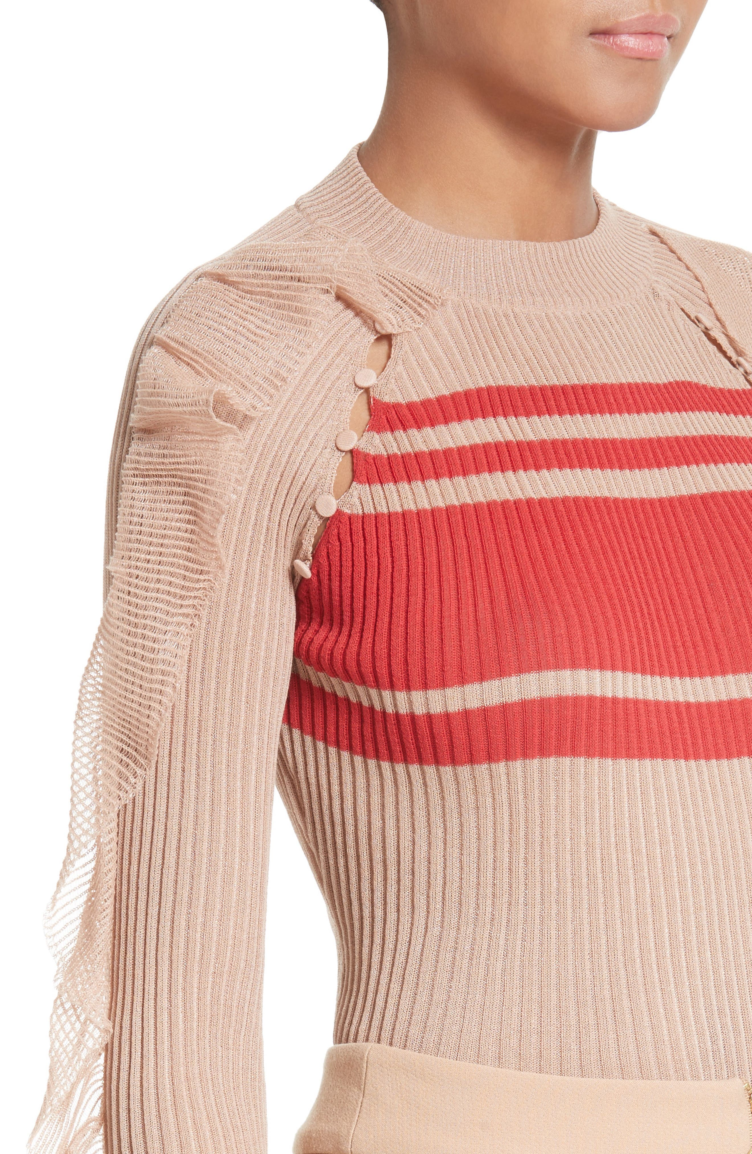 Alternate Image 5  - Self-Portrait Frilled Stripe Sweater
