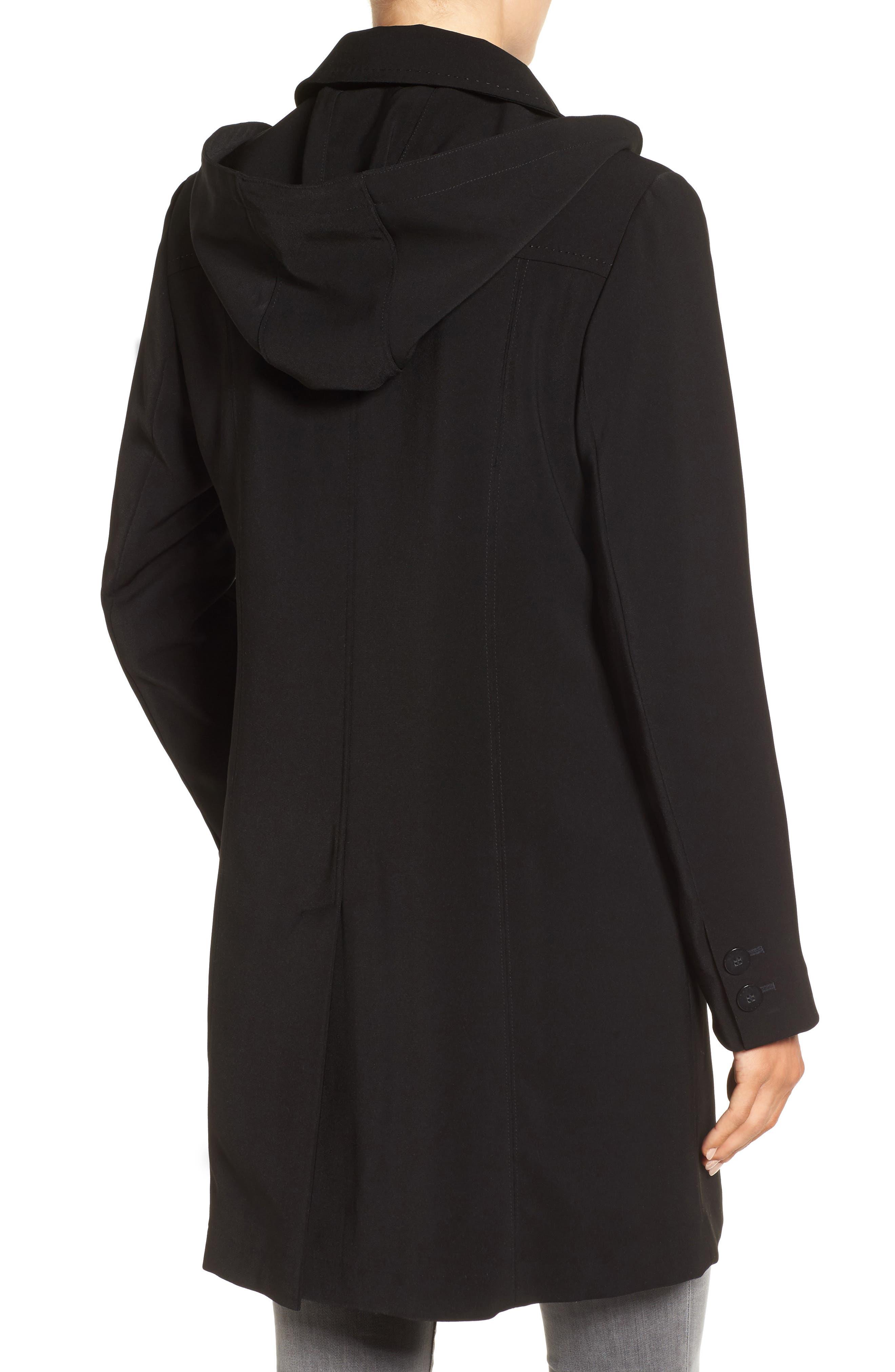 Alternate Image 2  - Gallery Pickstitch Nepage Walking Coat with Detachable Hood (Regular & Petite)