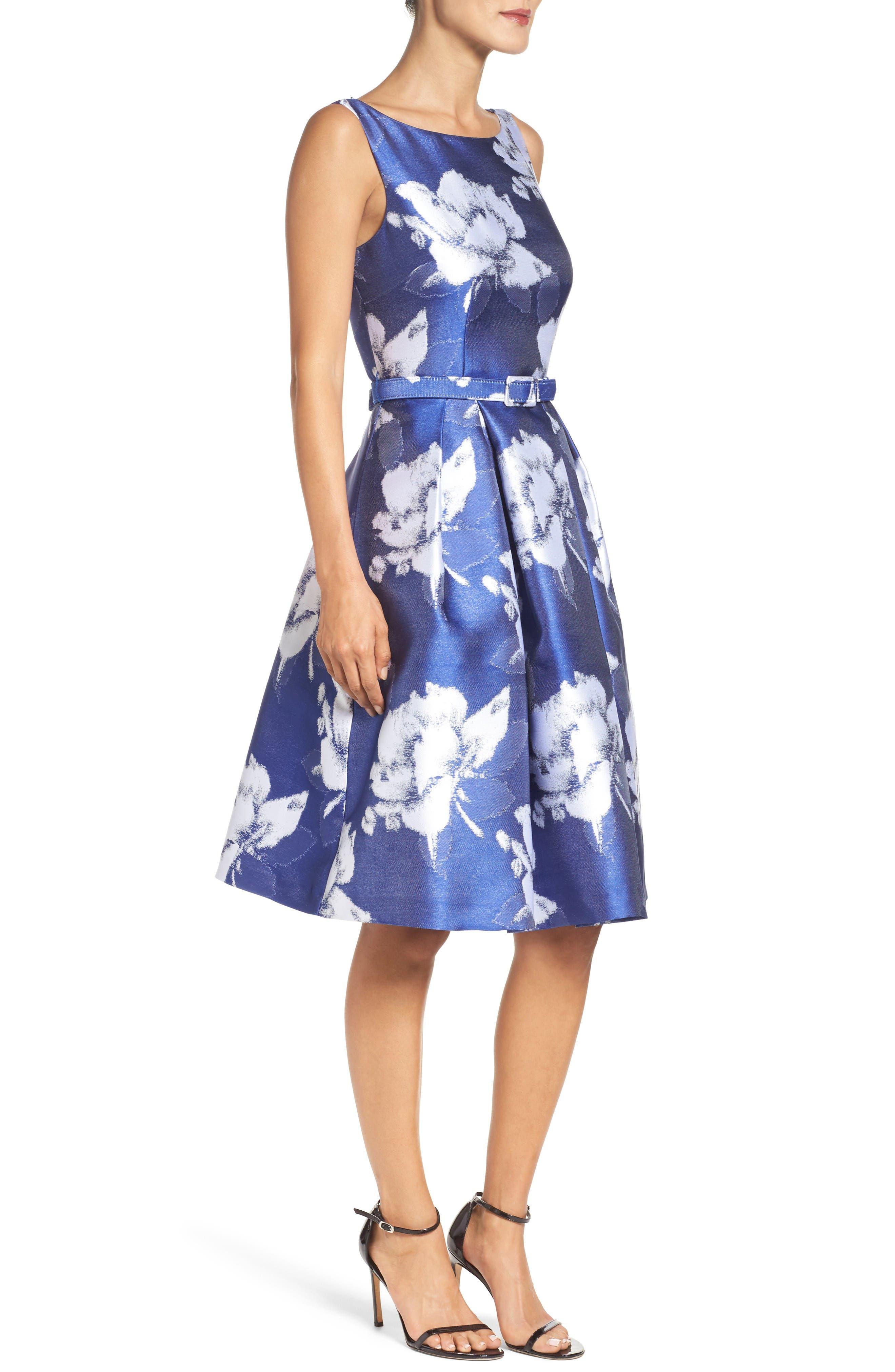 Alternate Image 3  - Eliza J Belted Floral Jacquard Dress