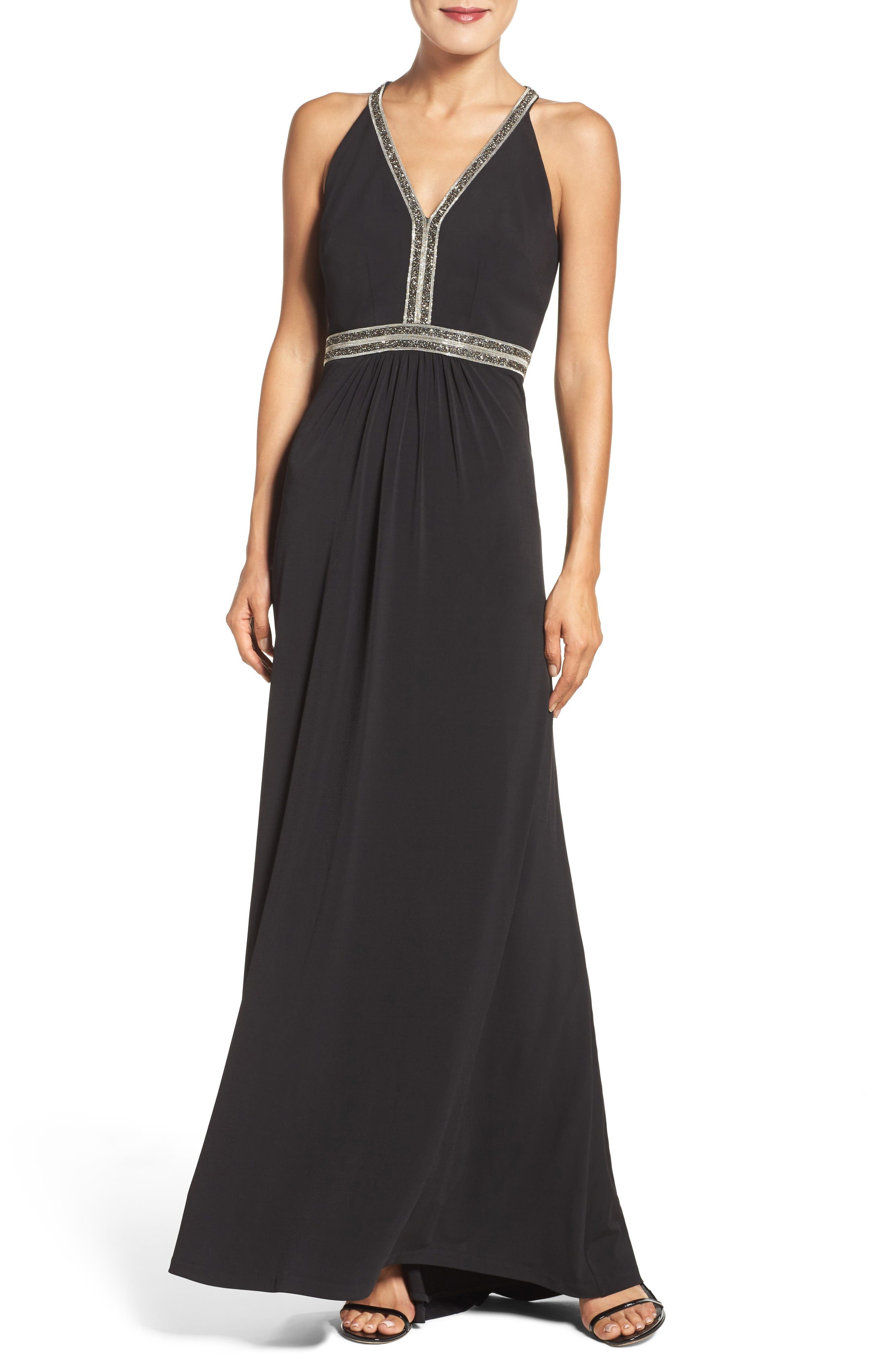 Main Image - Vince Camuto Embellished Jersey Gown