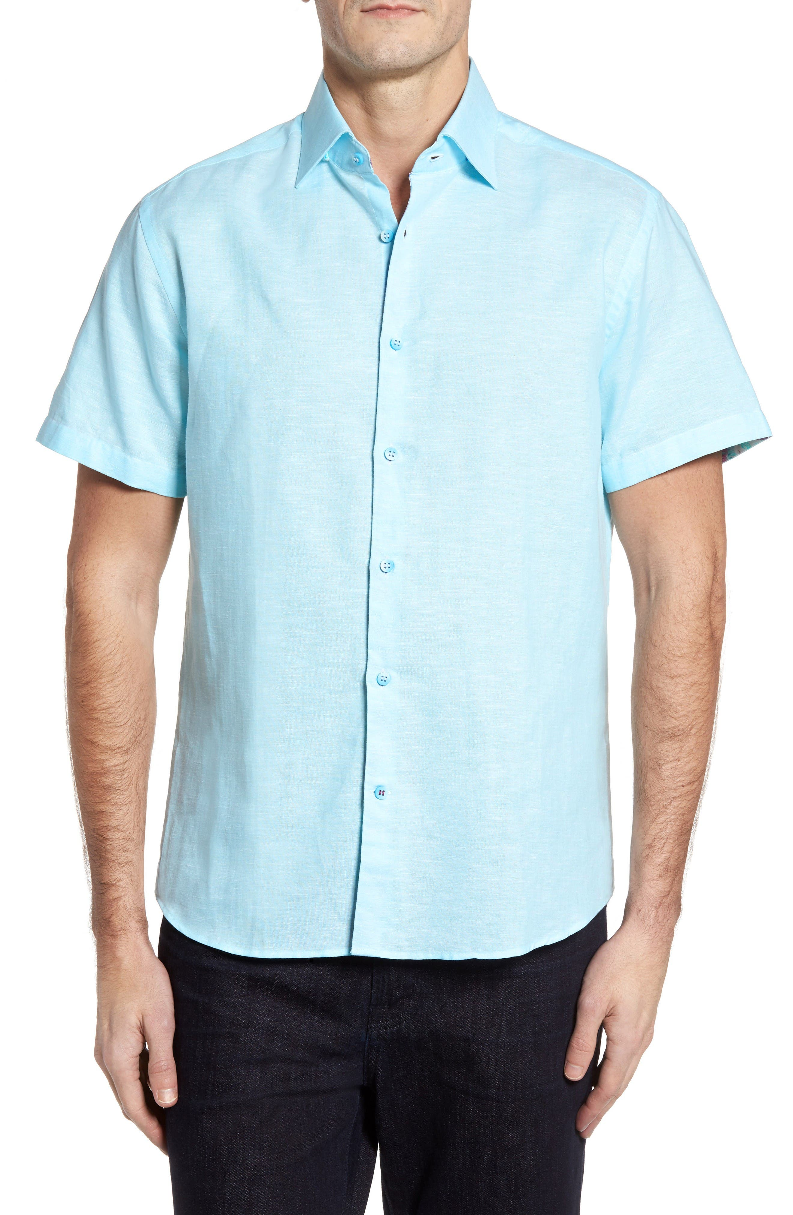 Stone Rose Trim Fit Linen Blend Sport Shirt