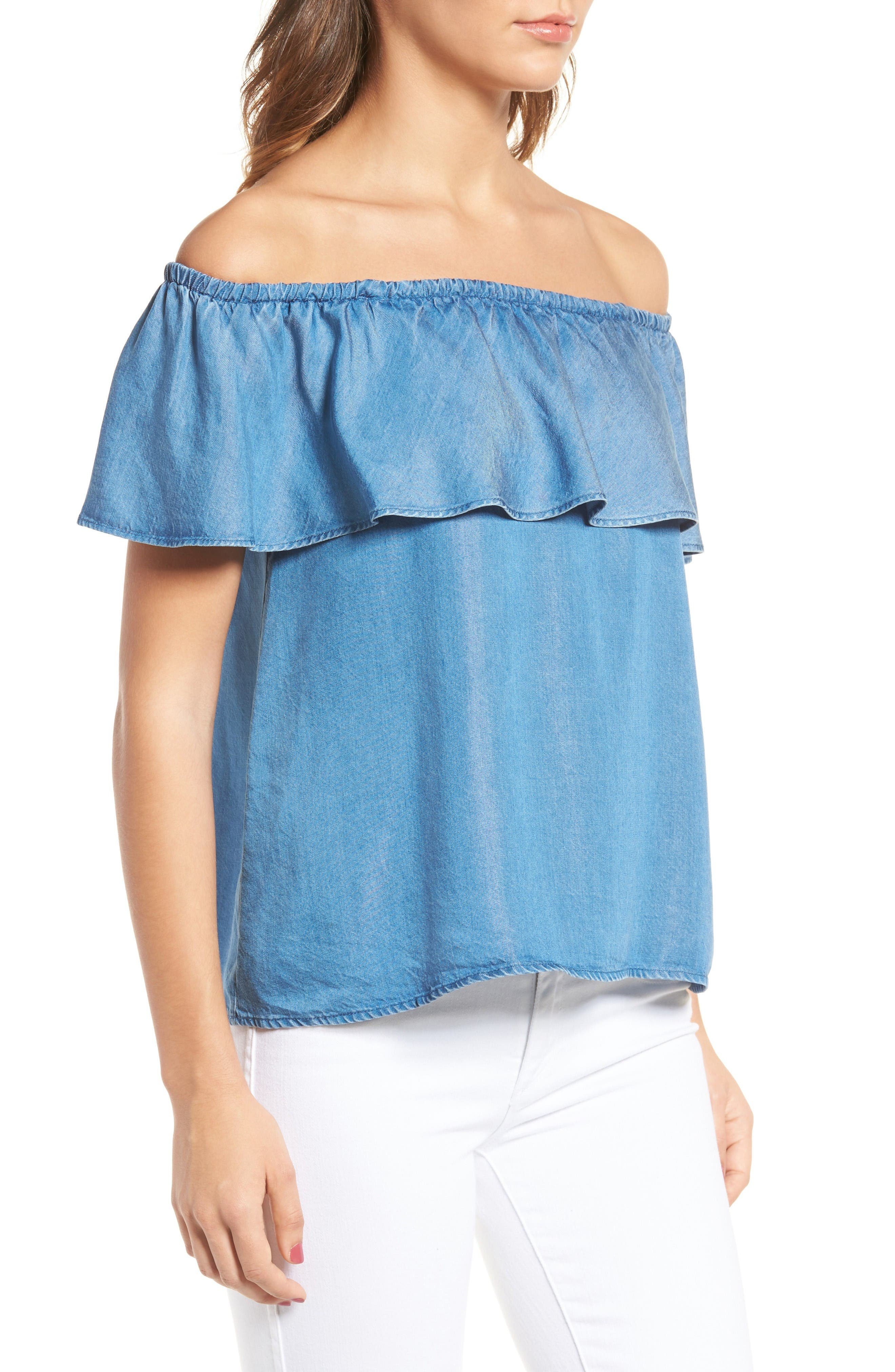 Alternate Image 3  - 7 For All Mankind® Off the Shoulder Chambray Top