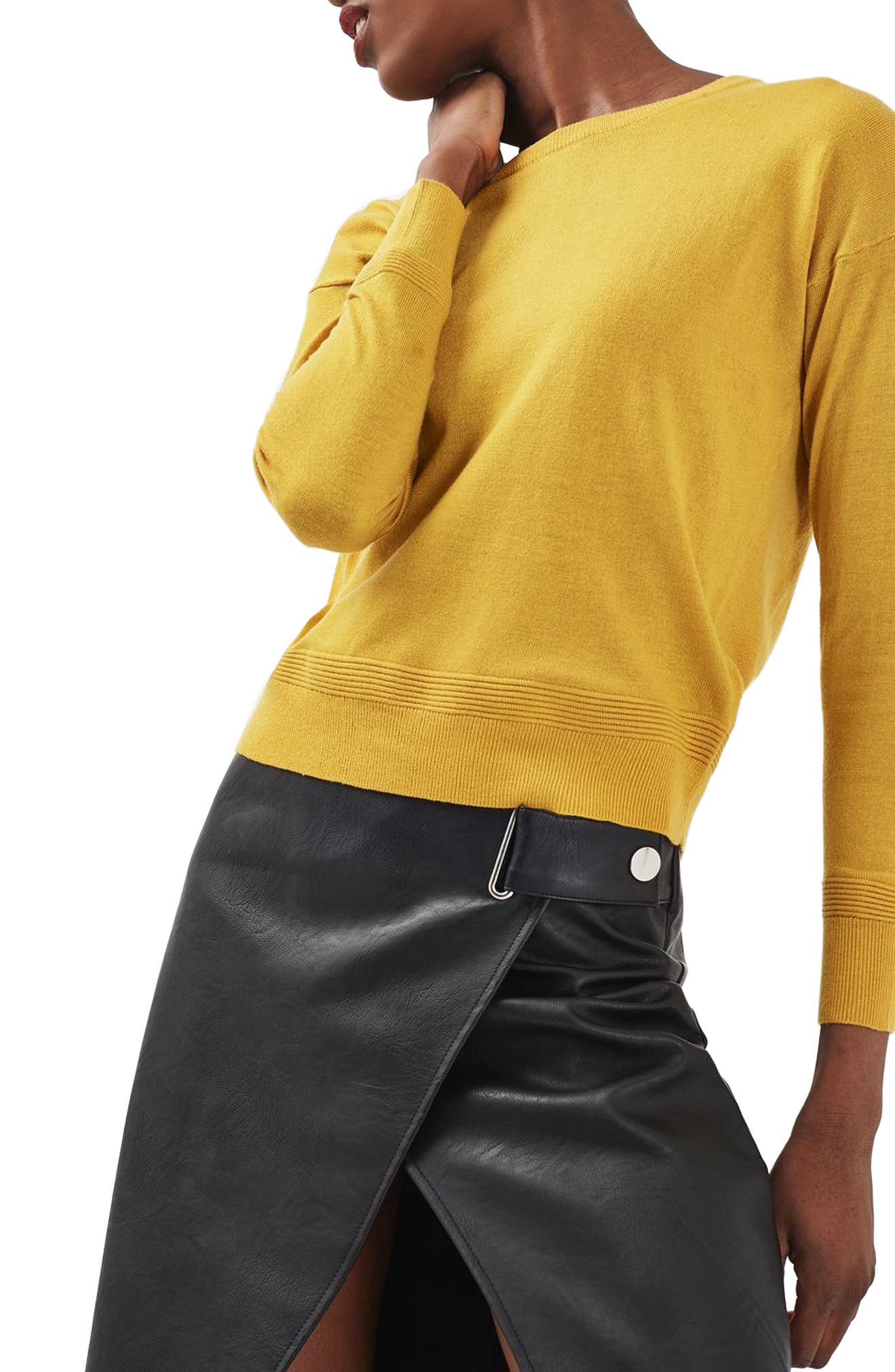 Main Image - Topshop Ottoman Rib Border Sweater