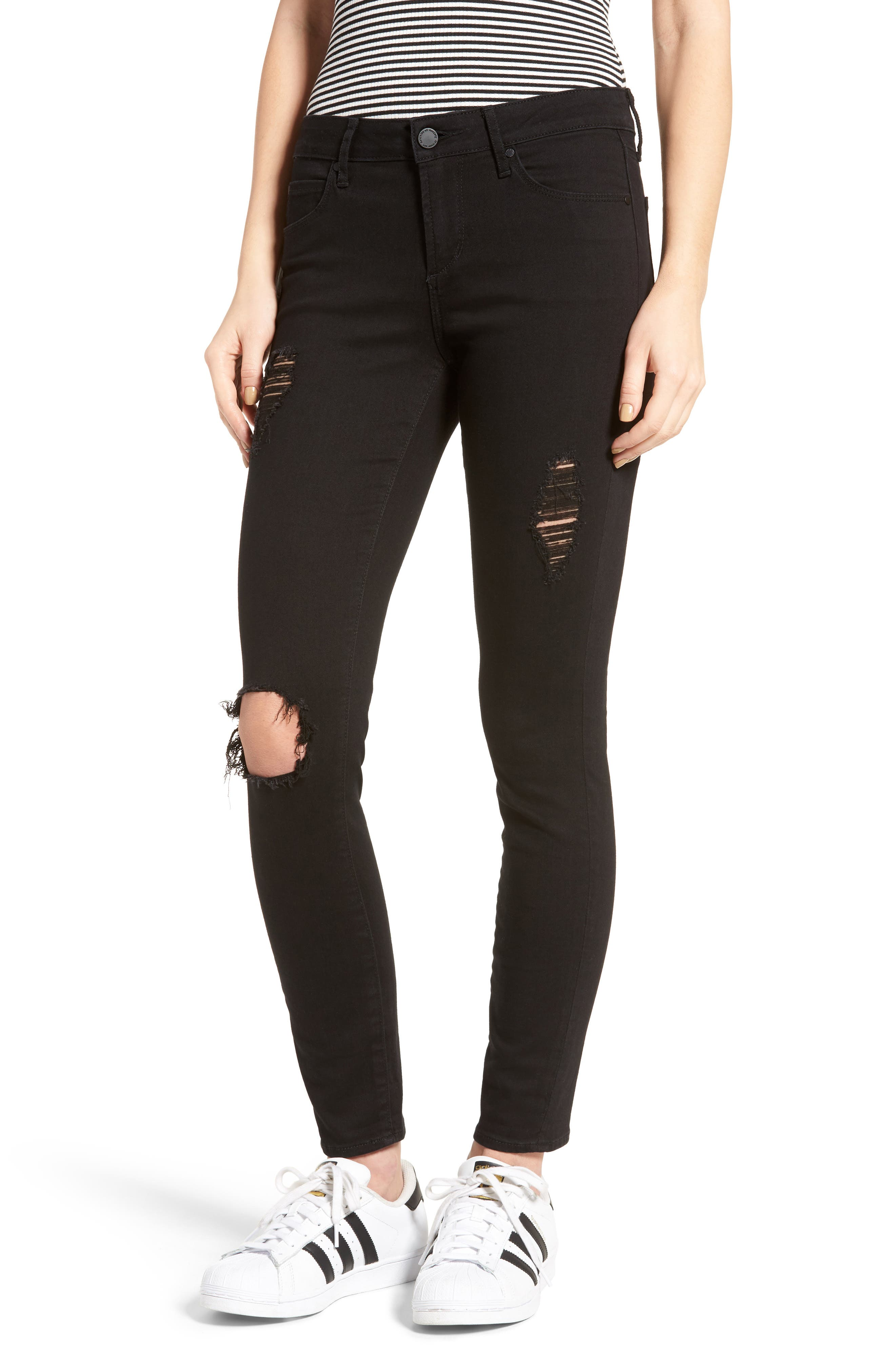 Main Image - Articles of Society Karen Ripped Crop Skinny Jeans (Carbon)