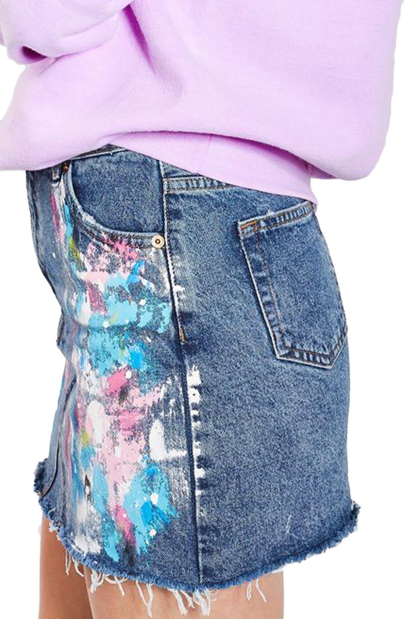 Alternate Image 4  - Topshop Moto Splatter Paint Denim Miniskirt