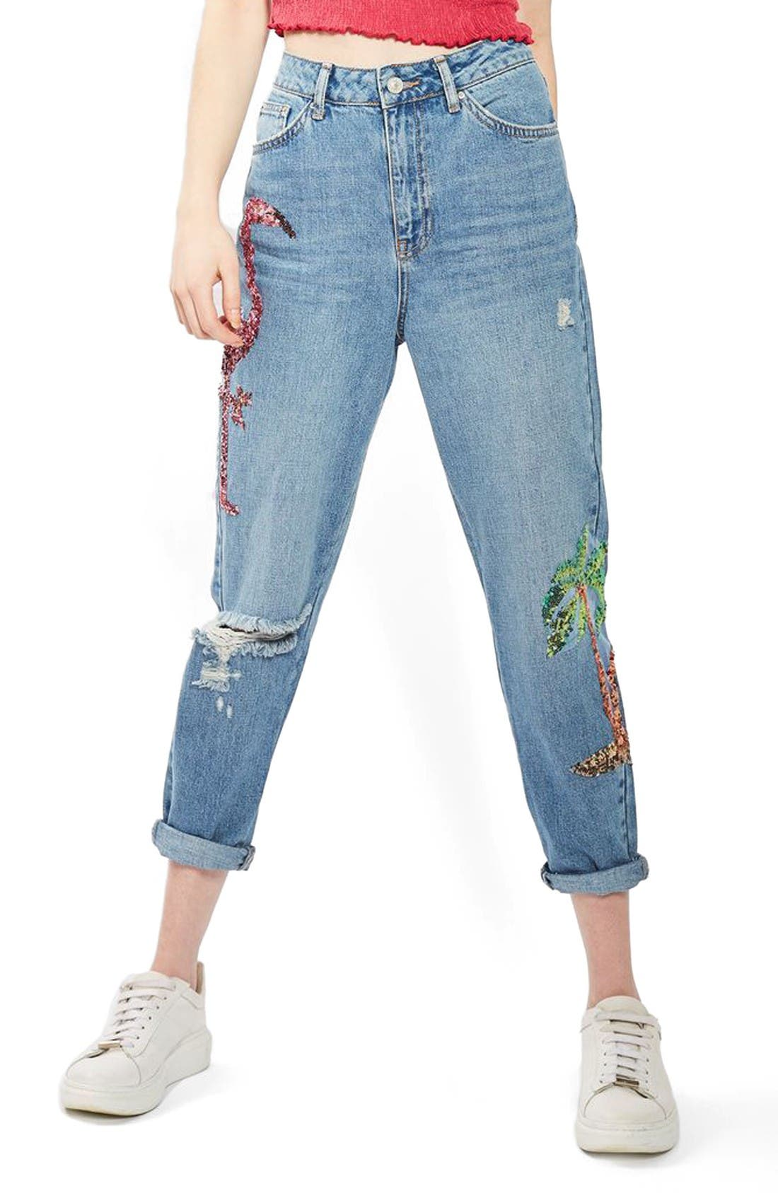 Main Image - Topshop Distressed Sequin Mom Jeans